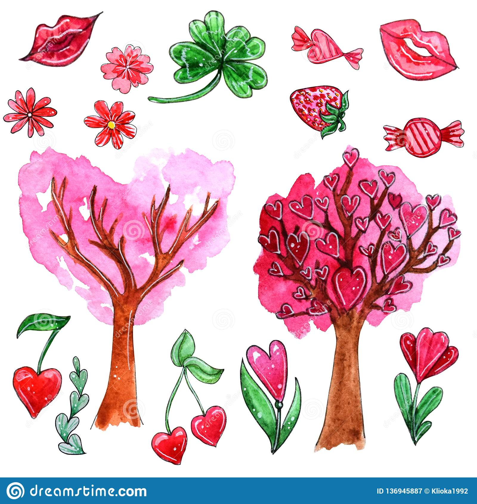 Aquarellsatz Elemente für Valentinsgruß ` s Tag