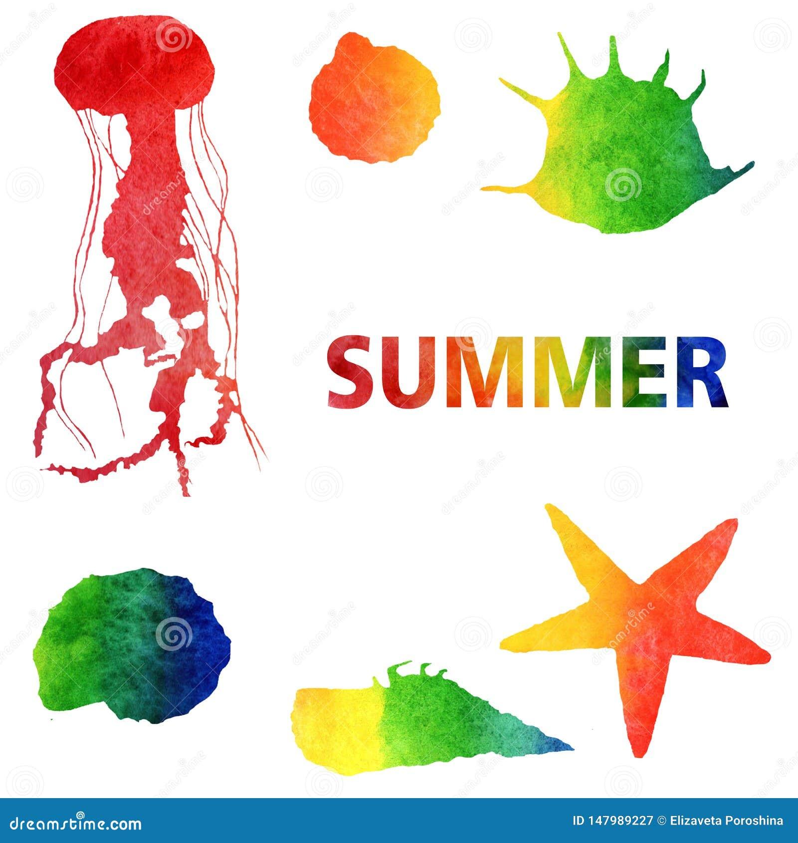 Aquarellsommerillustration Stellen Sie von den Regenbogenquallen und -oberteilen ein