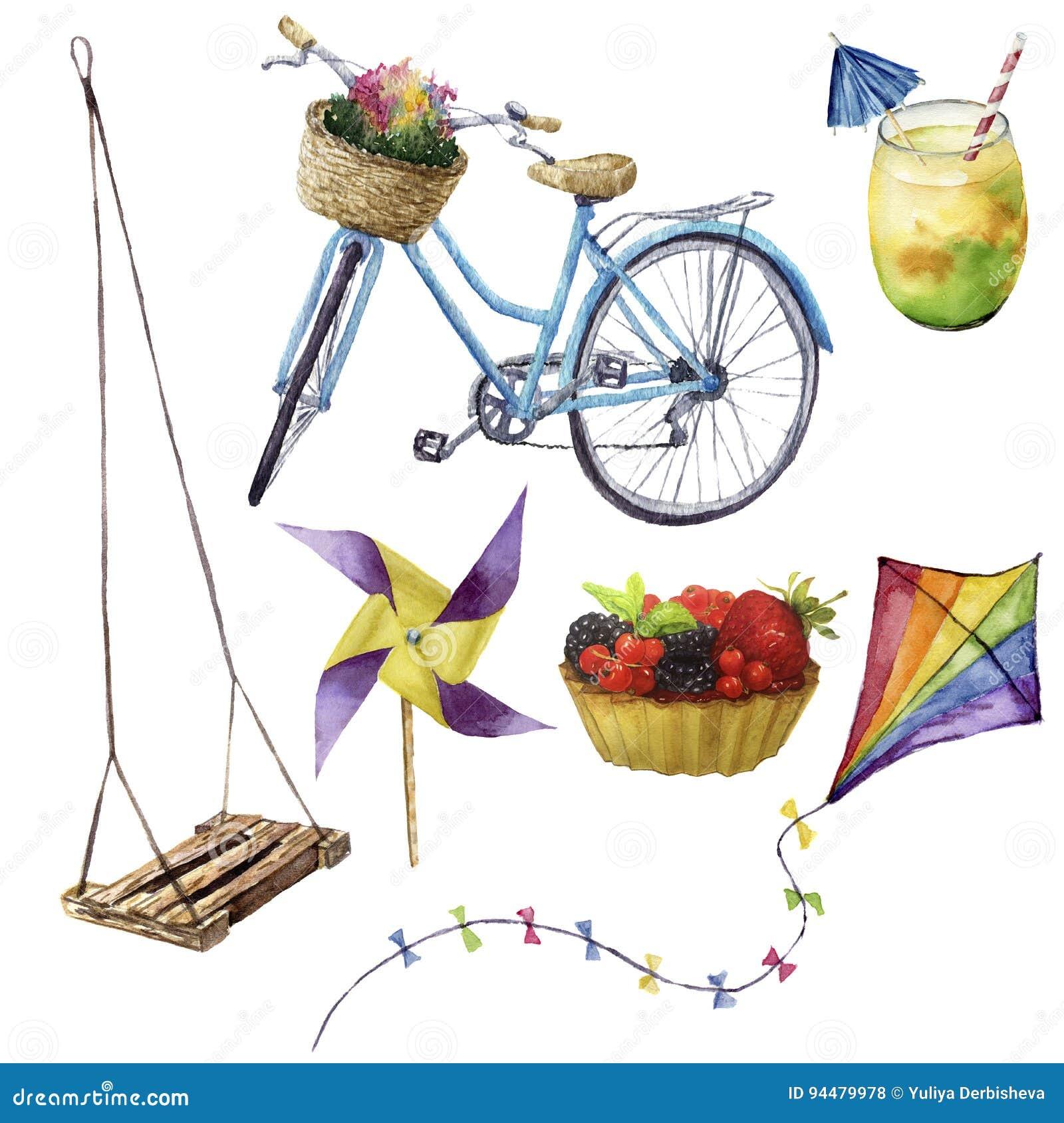 Aquarellsommervergnügen eingestellt Handgemalte Sommerferiengegenstände: Schwingen, Cocktail, kait, Fruchtkuchen, Fahrrad und