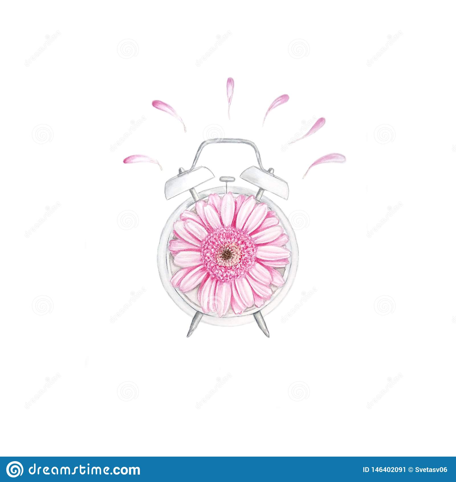 Aquarelluhr mit Blume