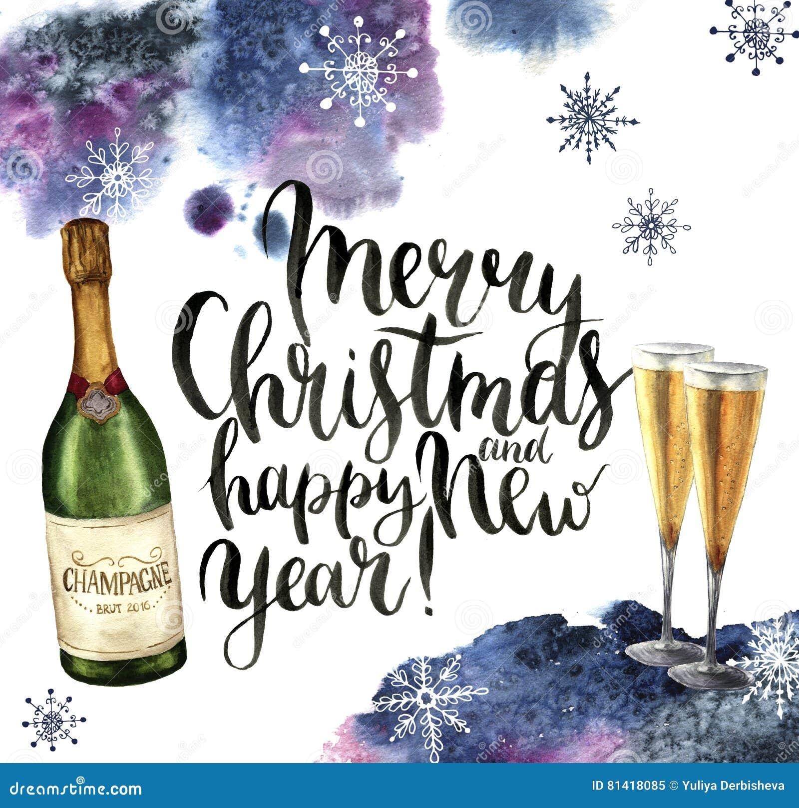 Aquarellweihnachtskarte mit Champagner und Schneeflocken Jahreszeitillustration mit frohen Weihnachten und guten Rutsch ins Neue