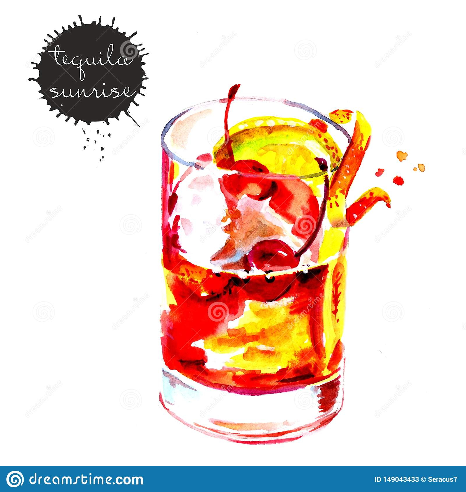 Aquarellzeichnung eines Cocktails mit Zitrone und Kirsche