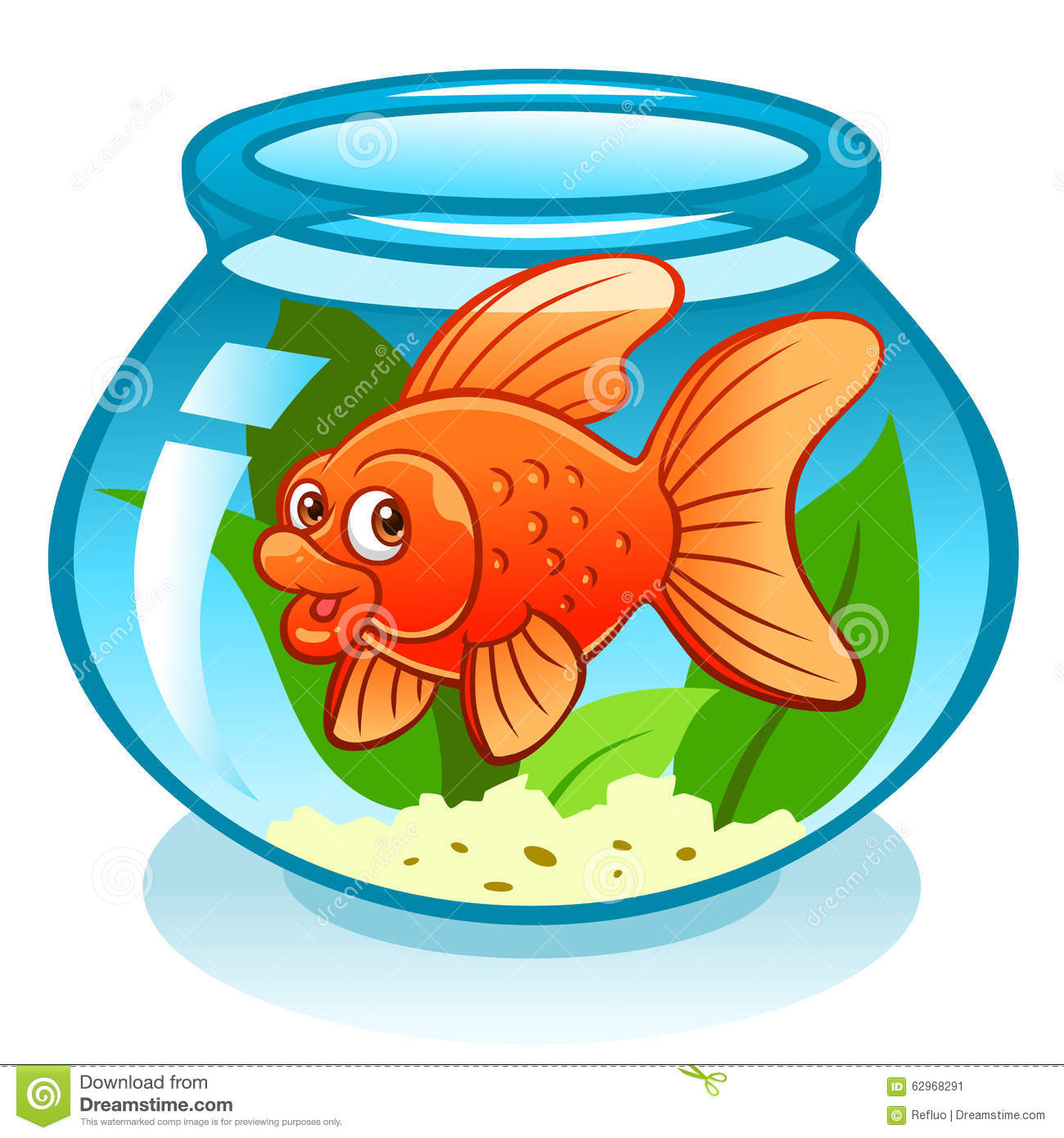 Aquarium avec le poisson rouge illustration de vecteur for Aquarium poisson rouge dessin