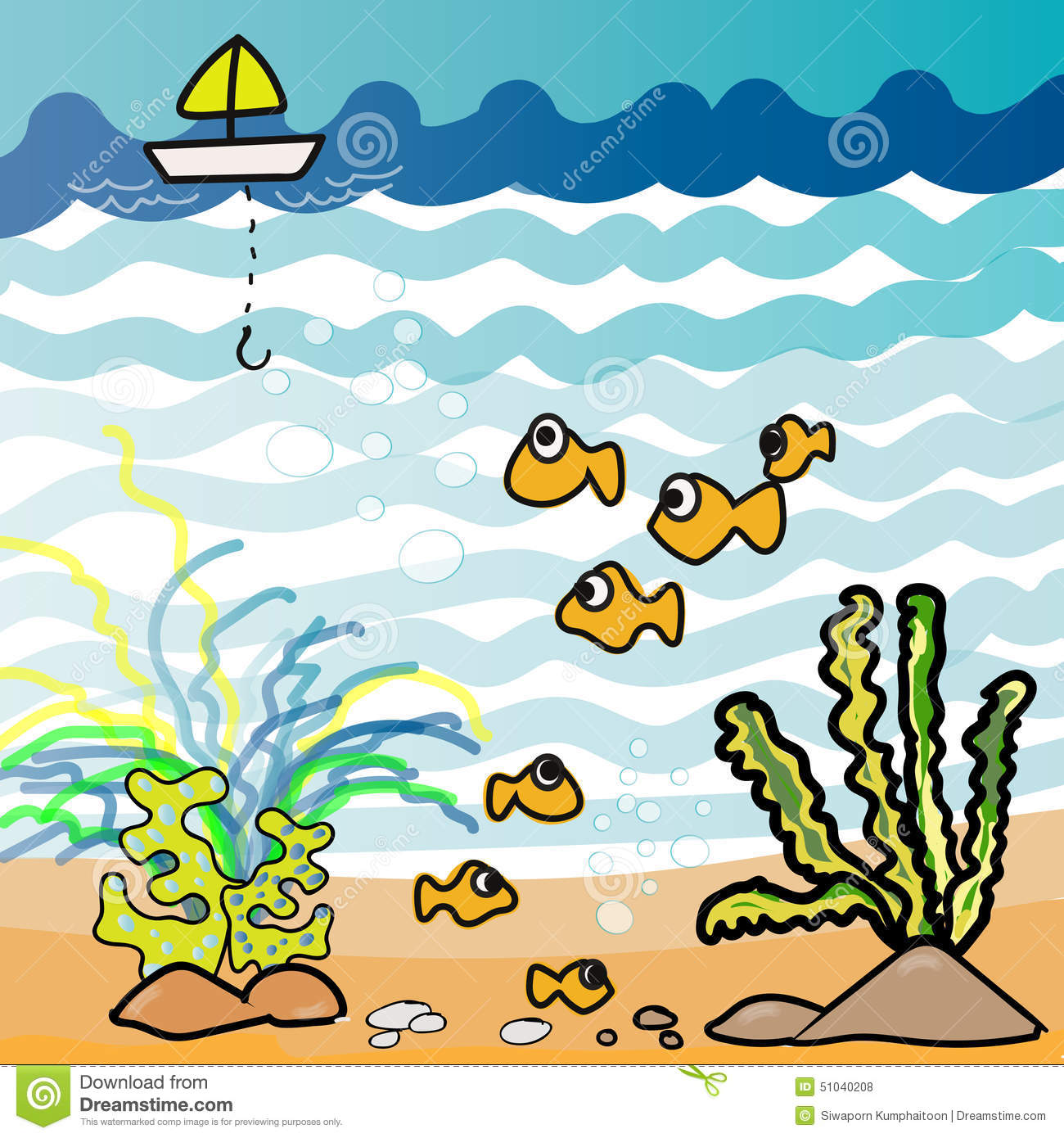 Aquarium Fish Cartoon Illustration Drawing Illustration 51040208