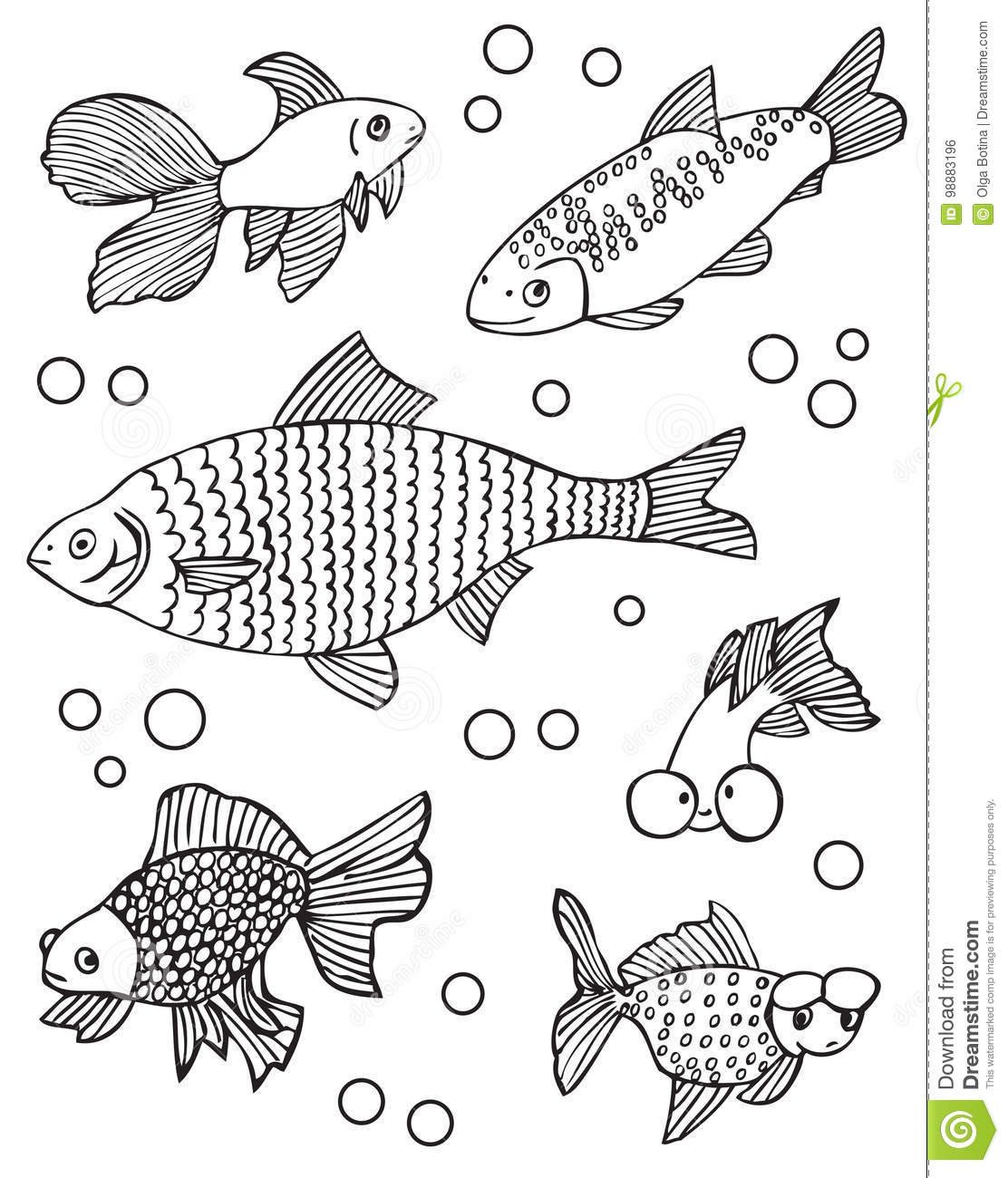 Aquarium Fish And Other Stock Vector Illustration Of Drawing 98883196