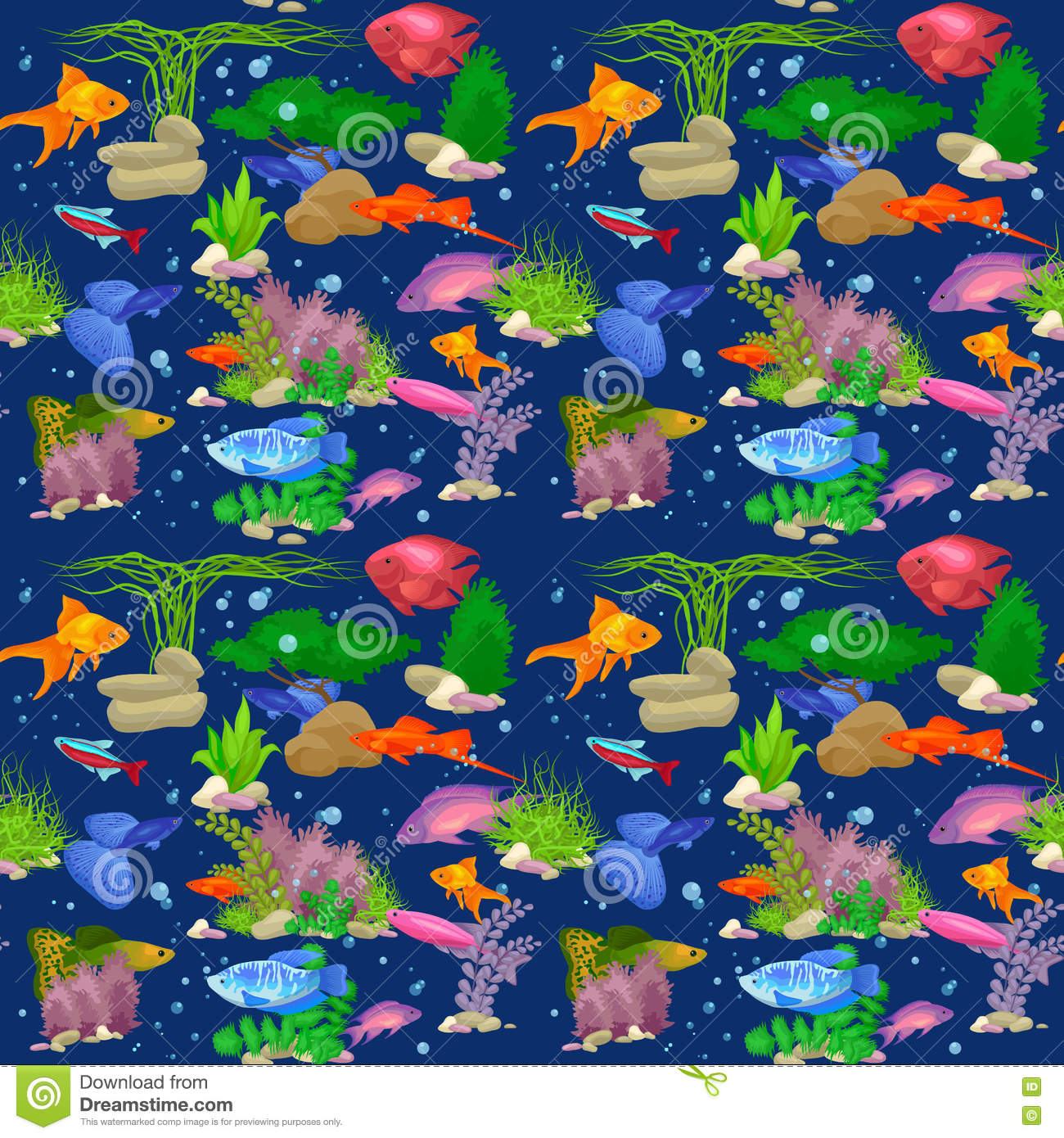 Aquarium fish vector illustration seamless pattern stock for Seamless fish tank