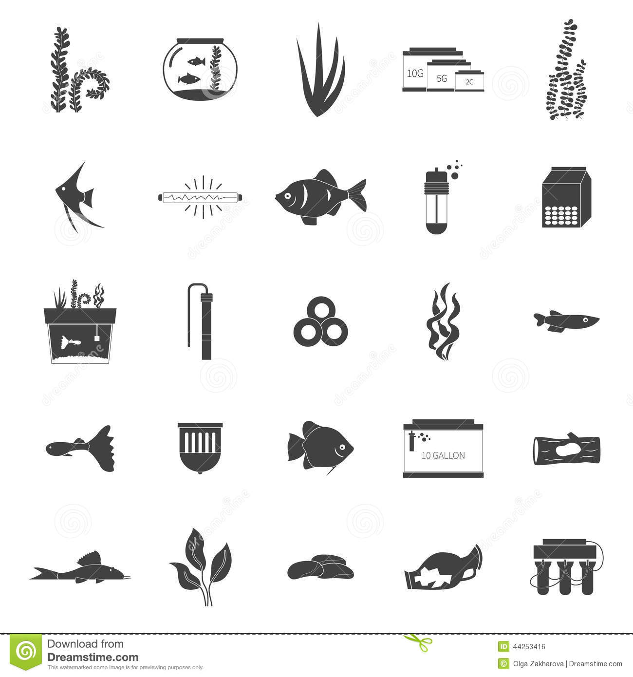 Aquarium Icons Stock Vector - Image: 44253416