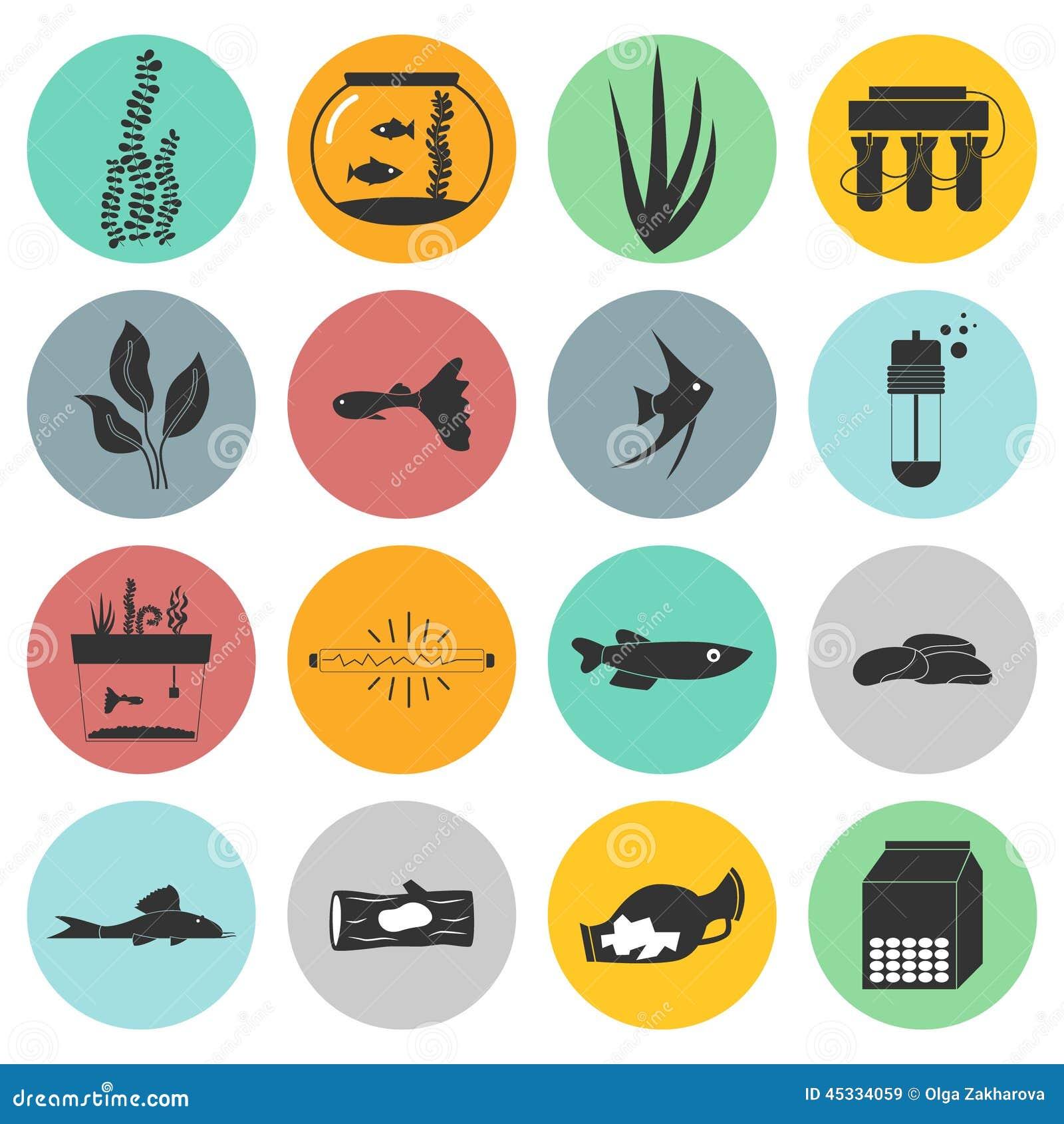 Aquarium Icons Stock Vector Image 45334059