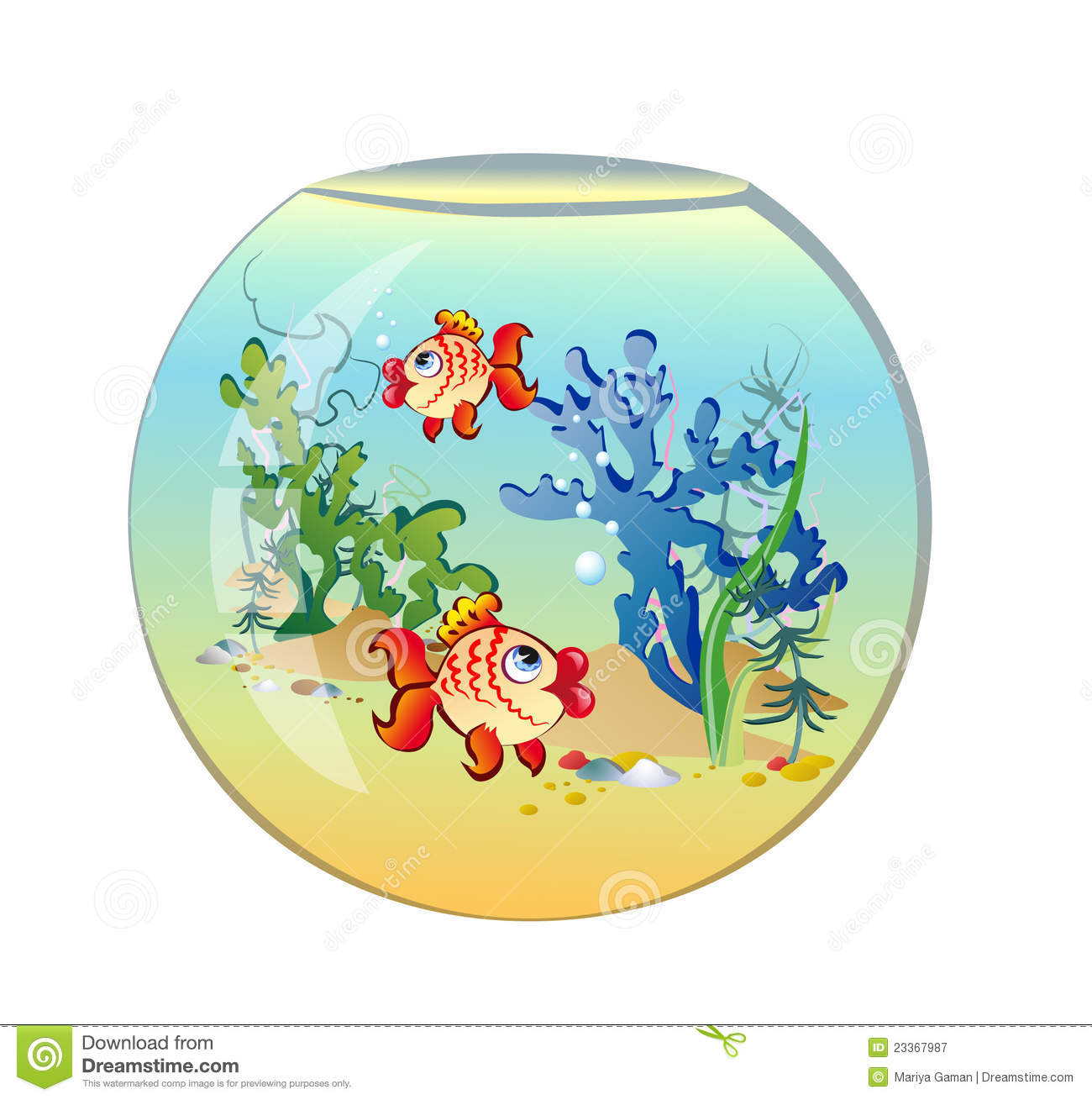 Aquarium rond avec des poissons illustration de vecteur for Grand aquarium rond