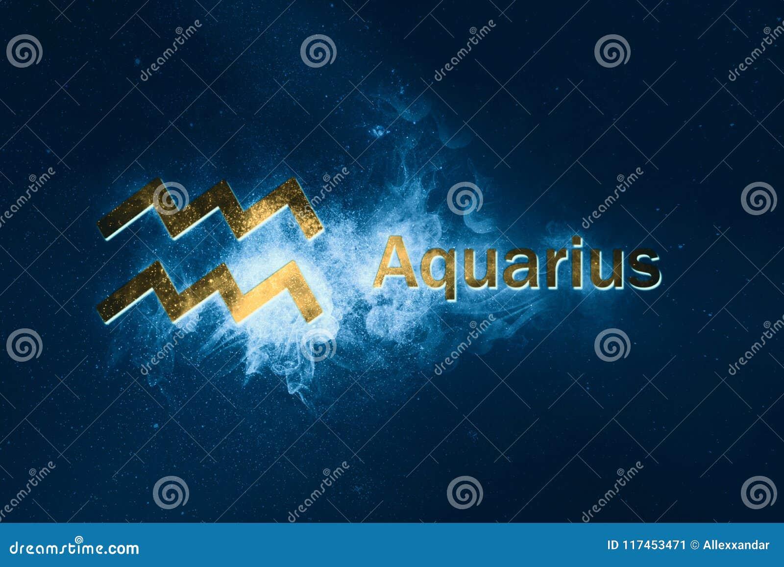 Aquarius Horoscope Sign Abstract Night Sky Background Stock