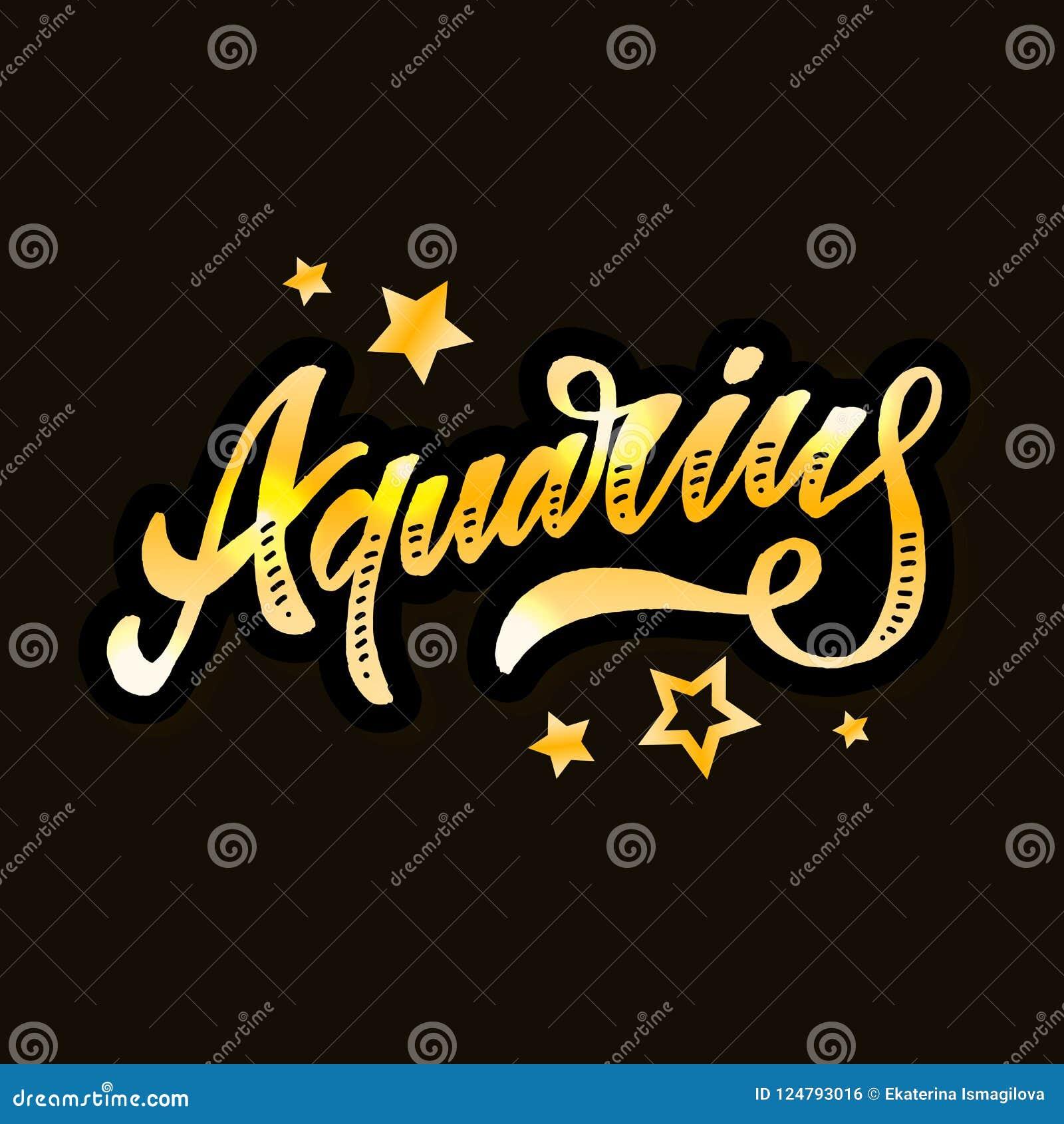 Aquarius Lettering Calligraphy Brush Text Horoscope Zodiac Sign