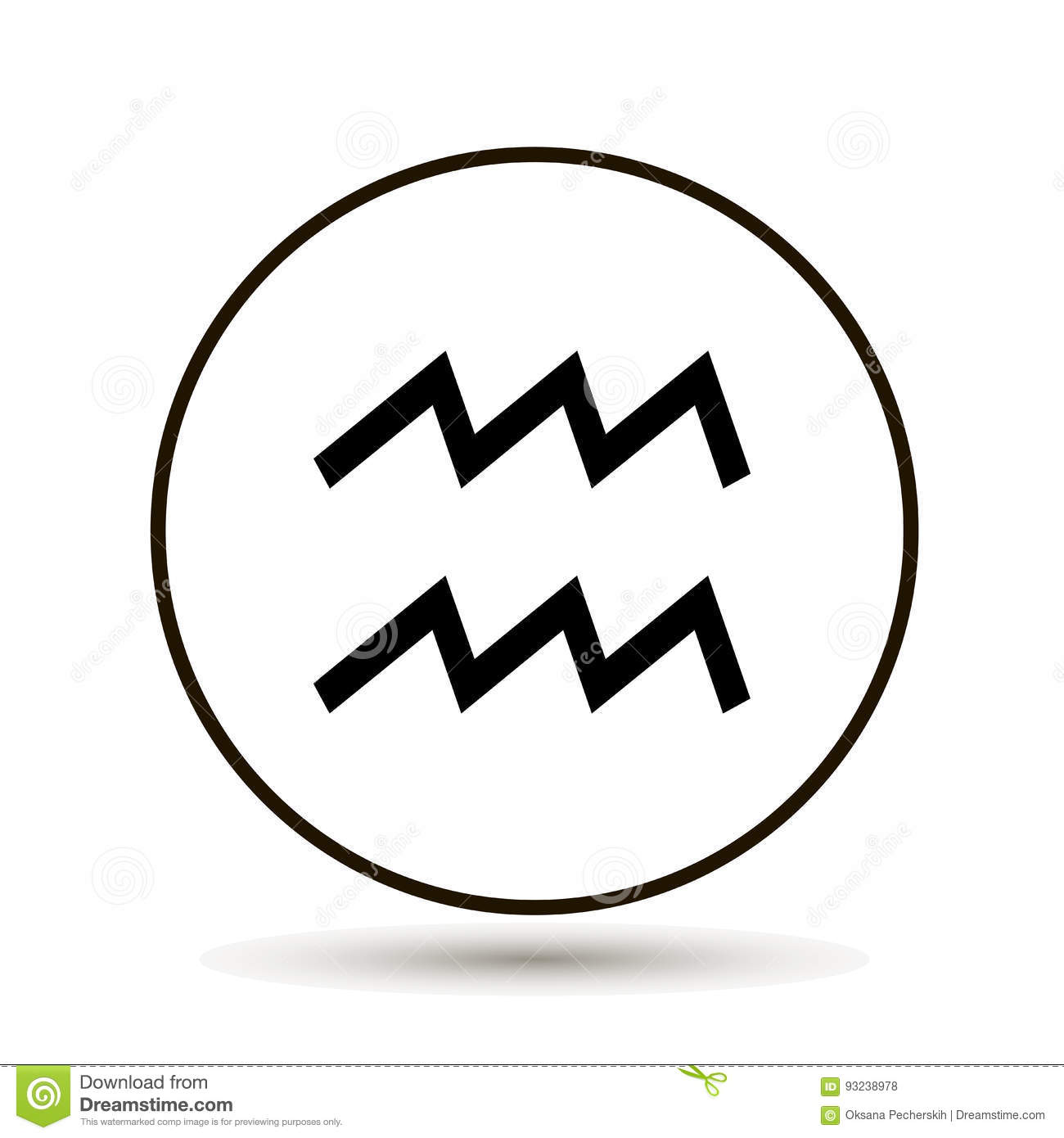 aquarius zodiac sign astrological symbol icon in circle on whi
