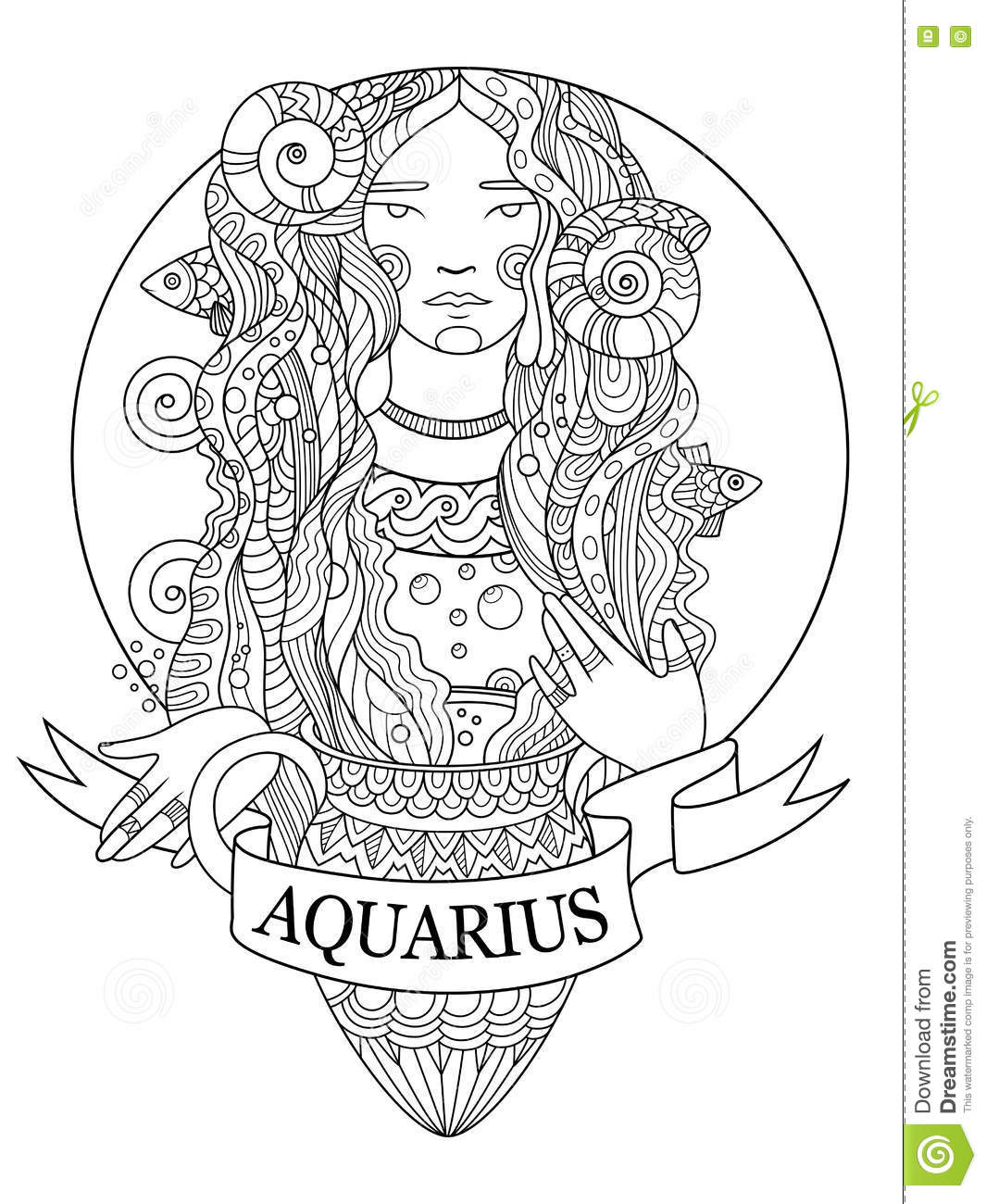 Aquarius Zodiac Sign Coloring Book