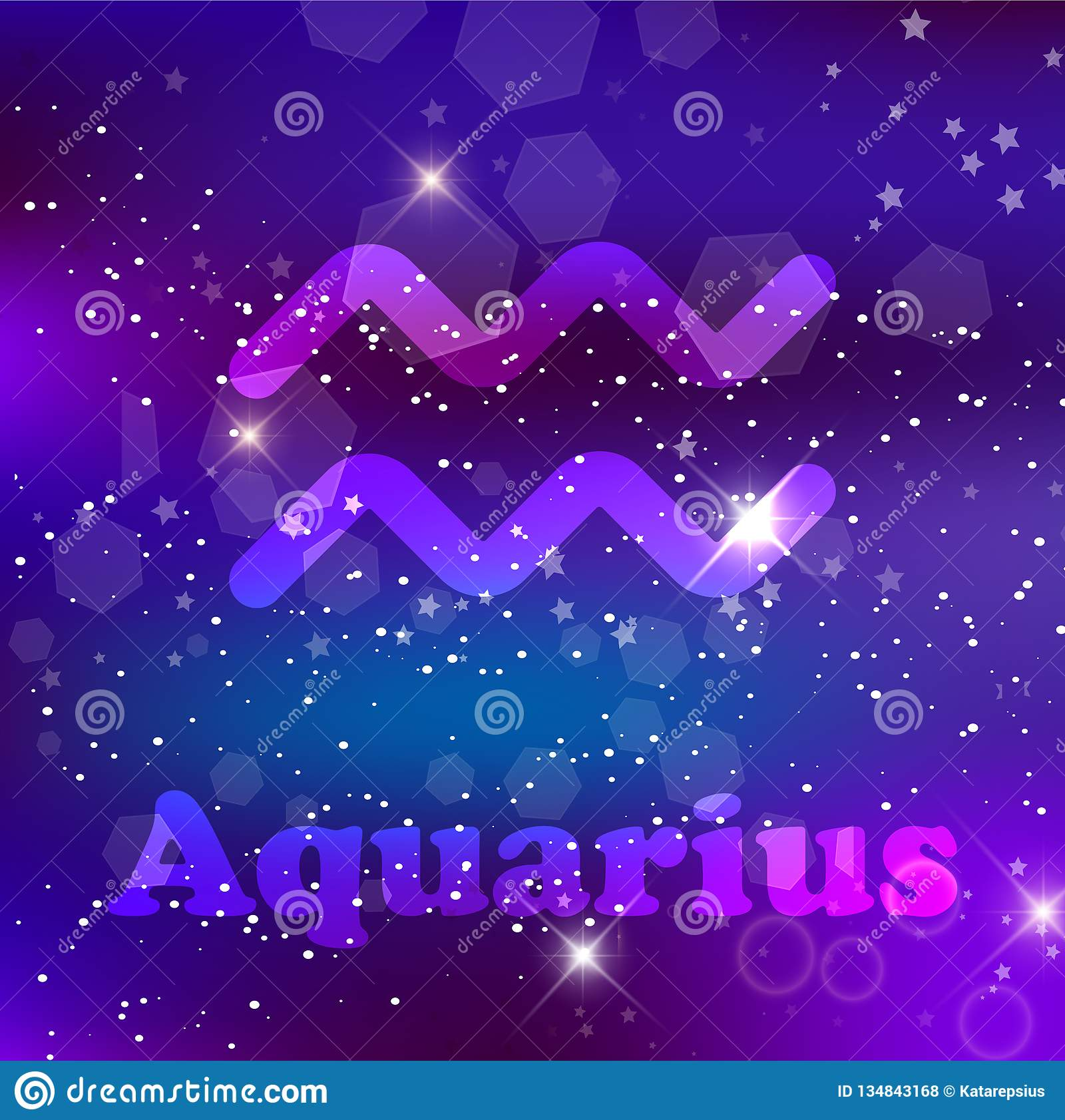 Aquarius Zodiac Sign On A Cosmic Purple Background With