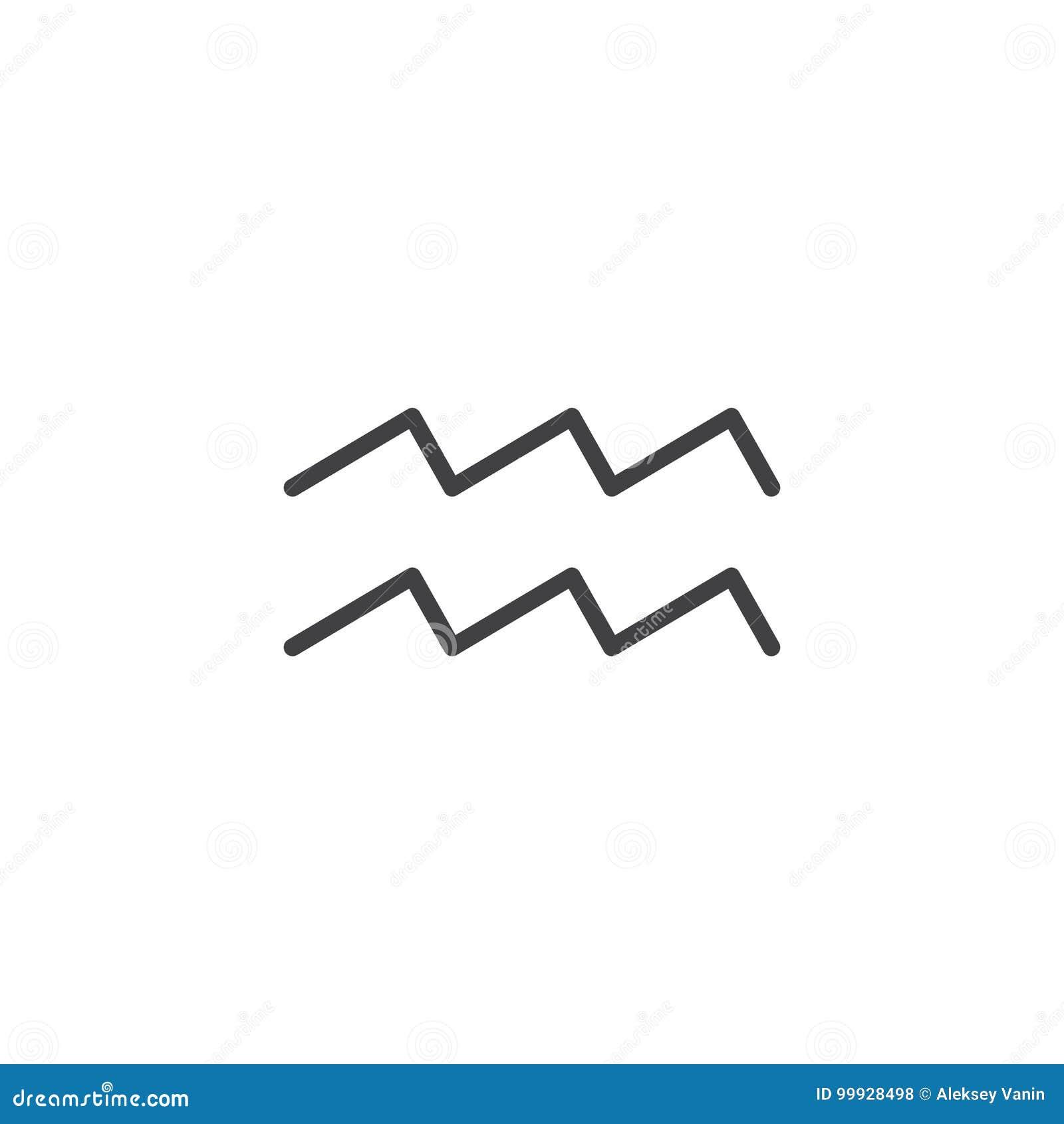 Aquarius Zodiac Sign Line Icon Stock Vector Illustration Of Stroke
