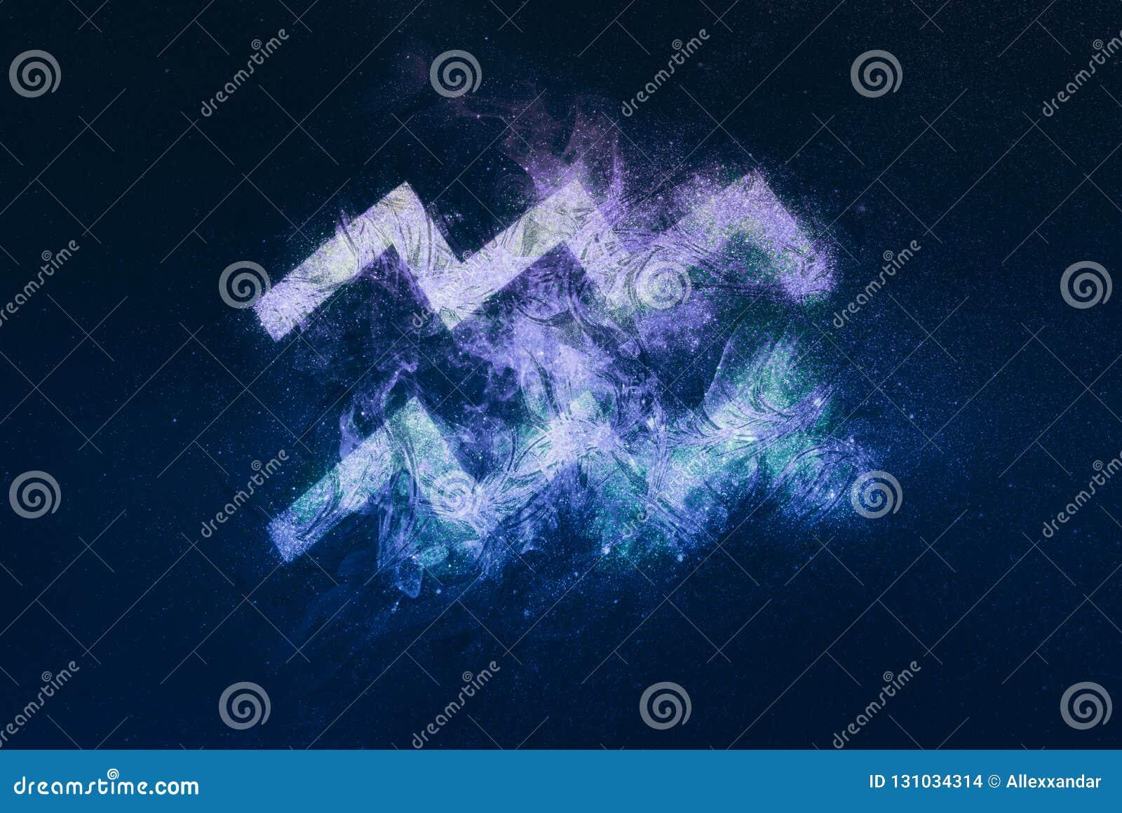 Aquarius Zodiac Sign. Night sky background