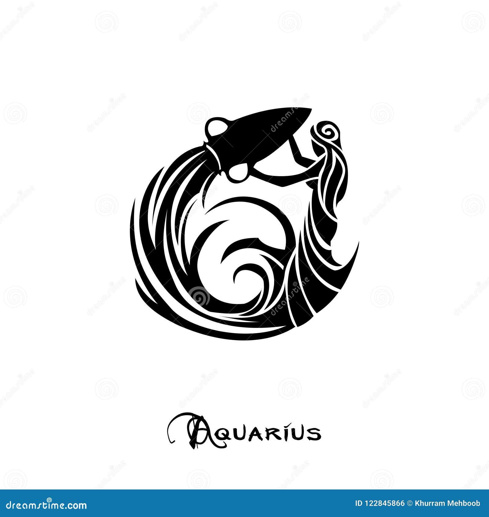 Aquarius Zodiac Sign Tattoo Style Stock Illustration