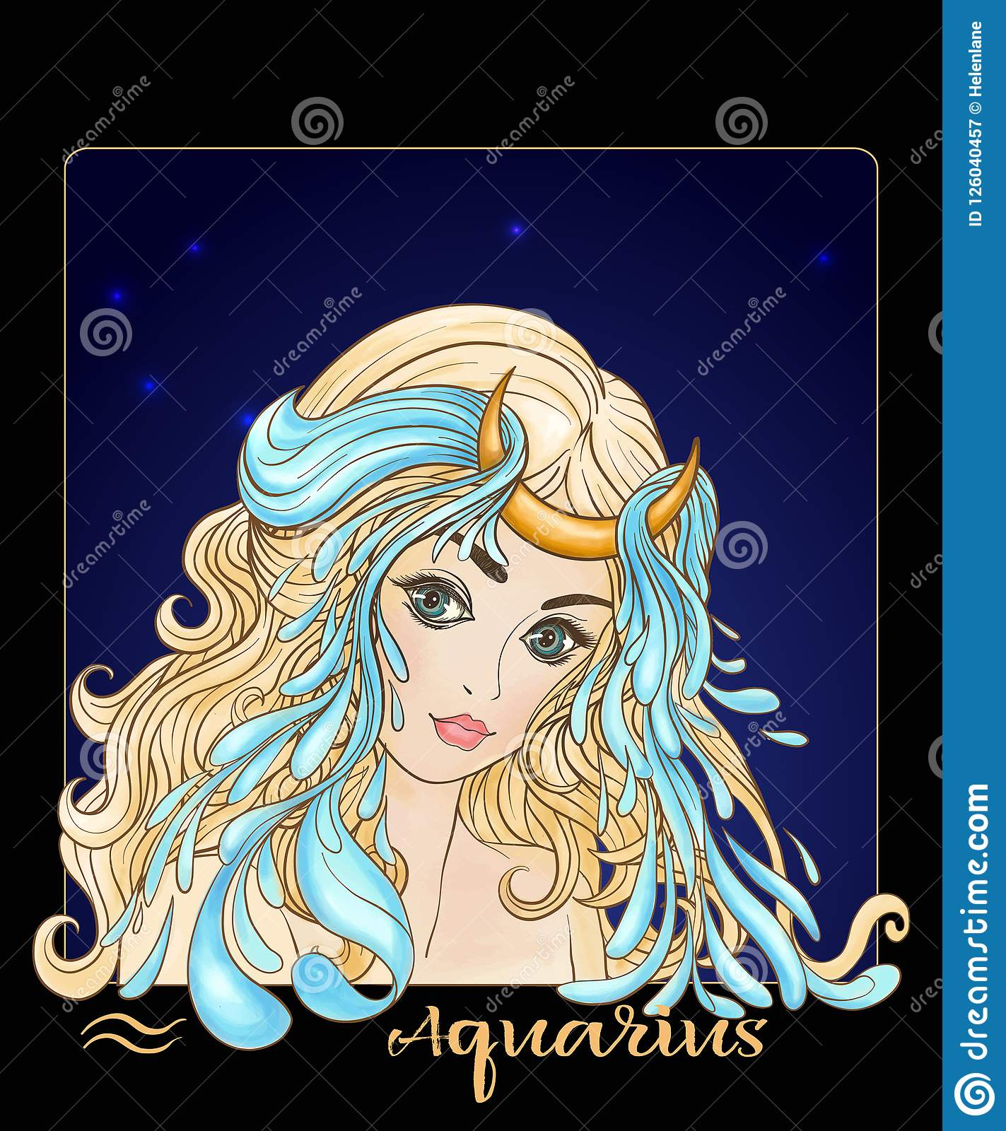 Aquarius Zodiac Sign  A Young Beautiful Girl In The Form Of