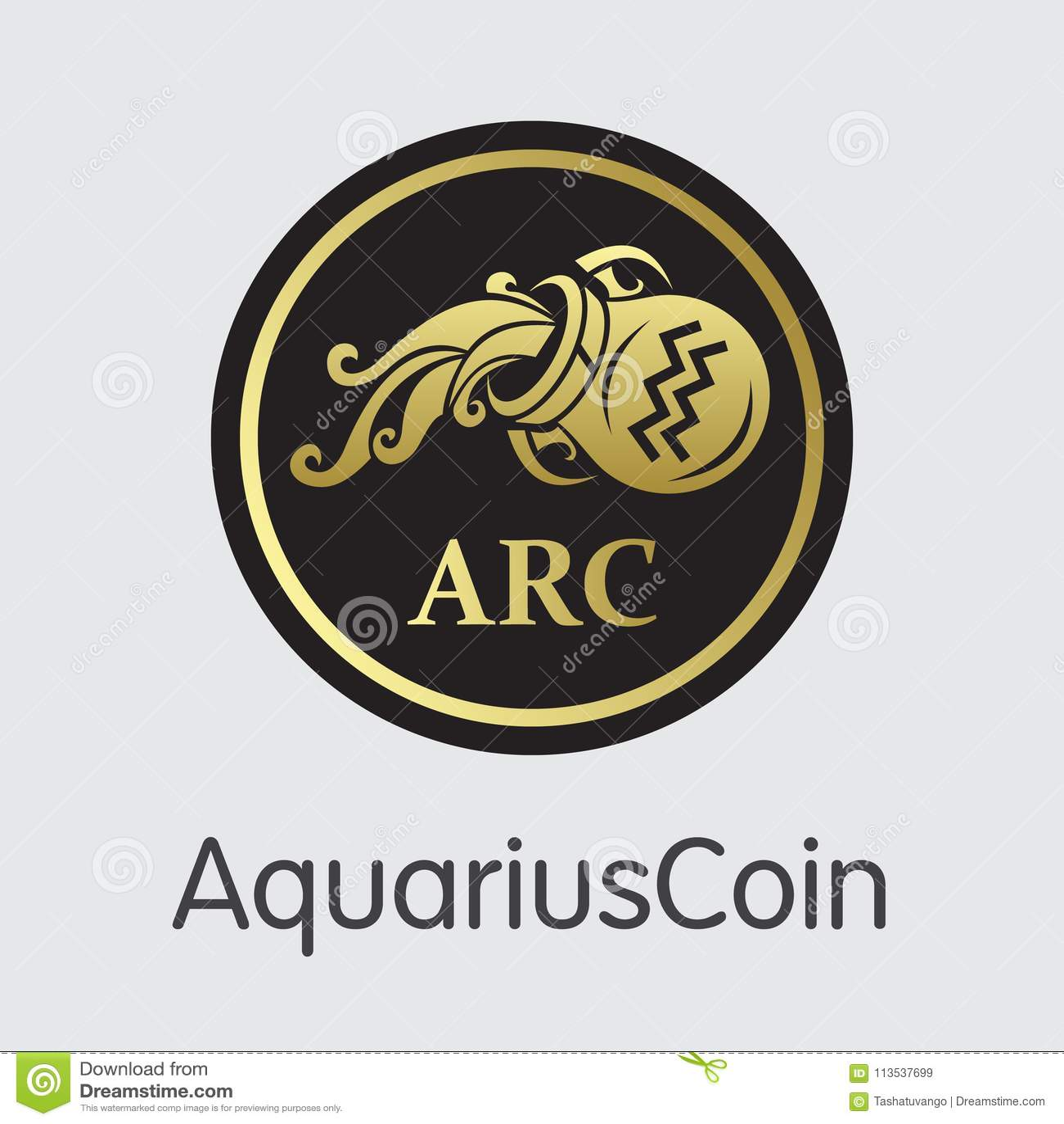 Aquariuscoin Digital Currency Vector Coin Symbol Stock Vector