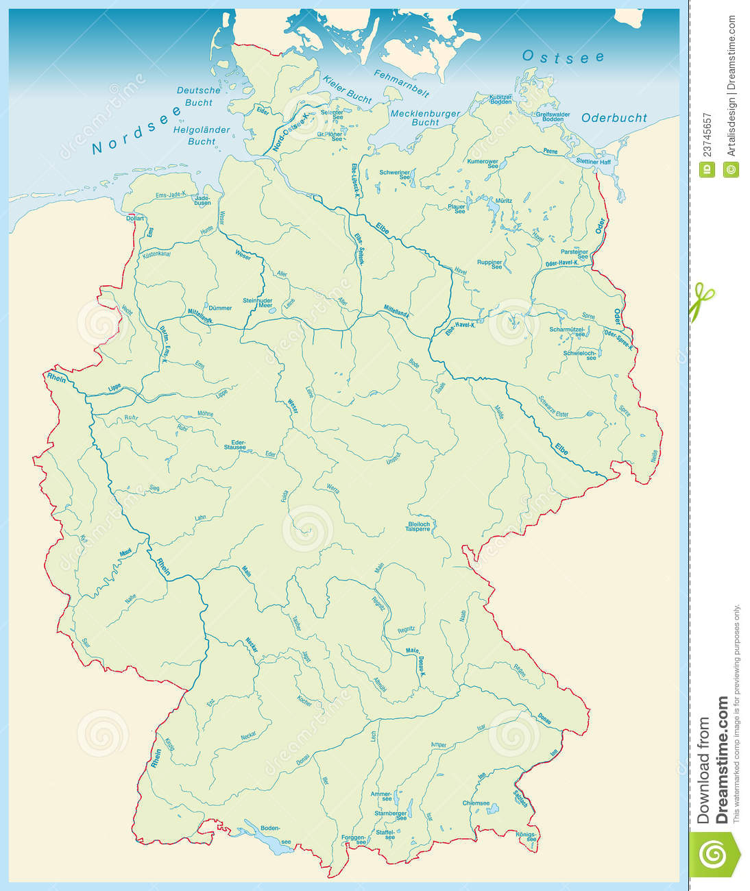 Rivers Of Germany Map.Aquatic Map Of Germany Stock Illustration Illustration Of National