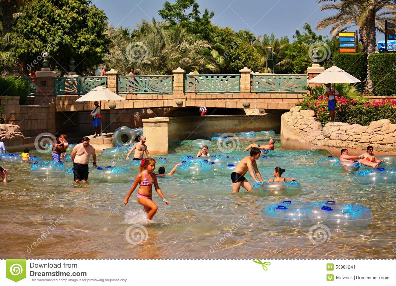 The Aquaventure Waterpark Of Atlantis The Palm Hotel Editorial Photo