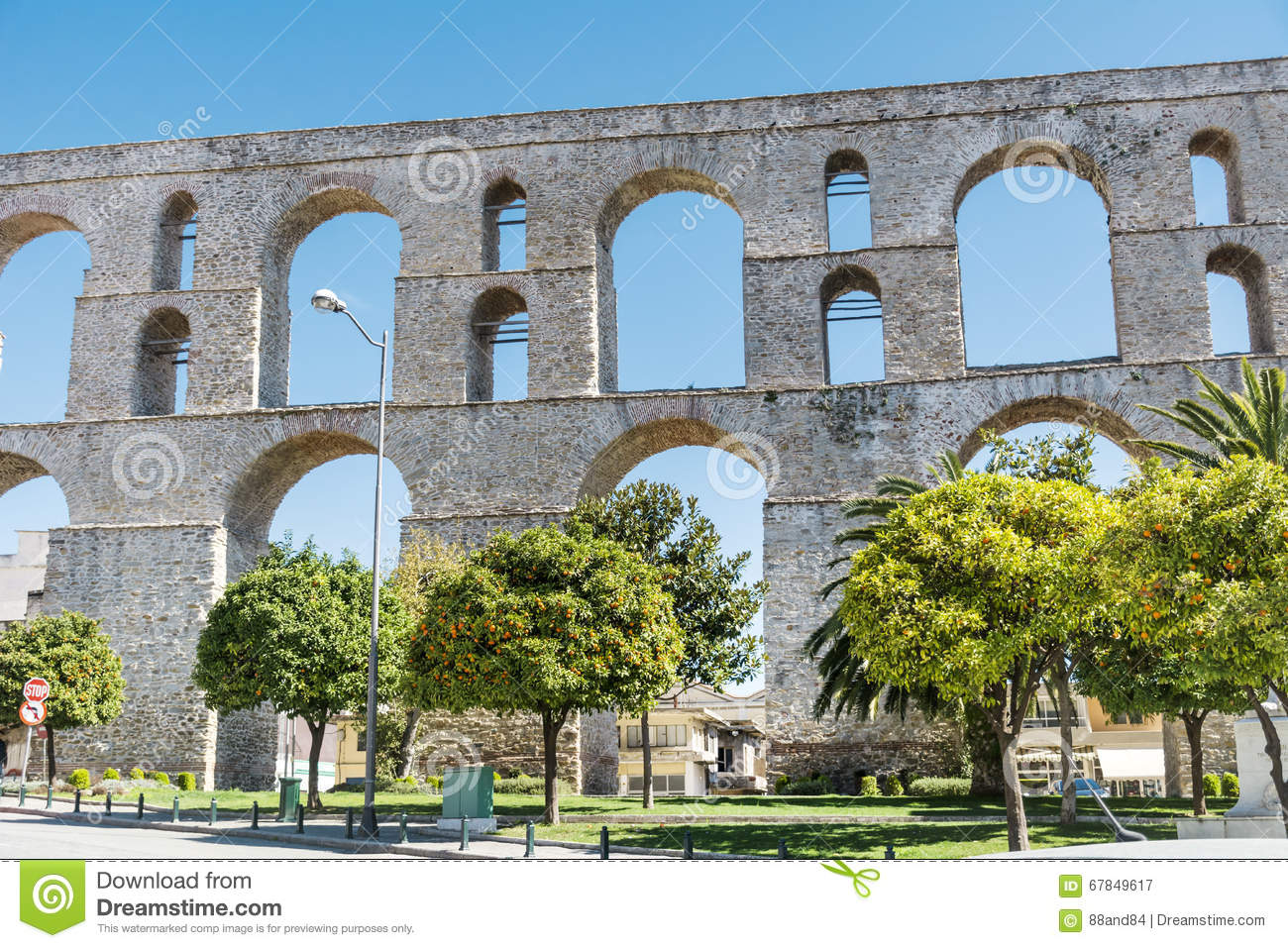 The aqueduct in Kavala Greece