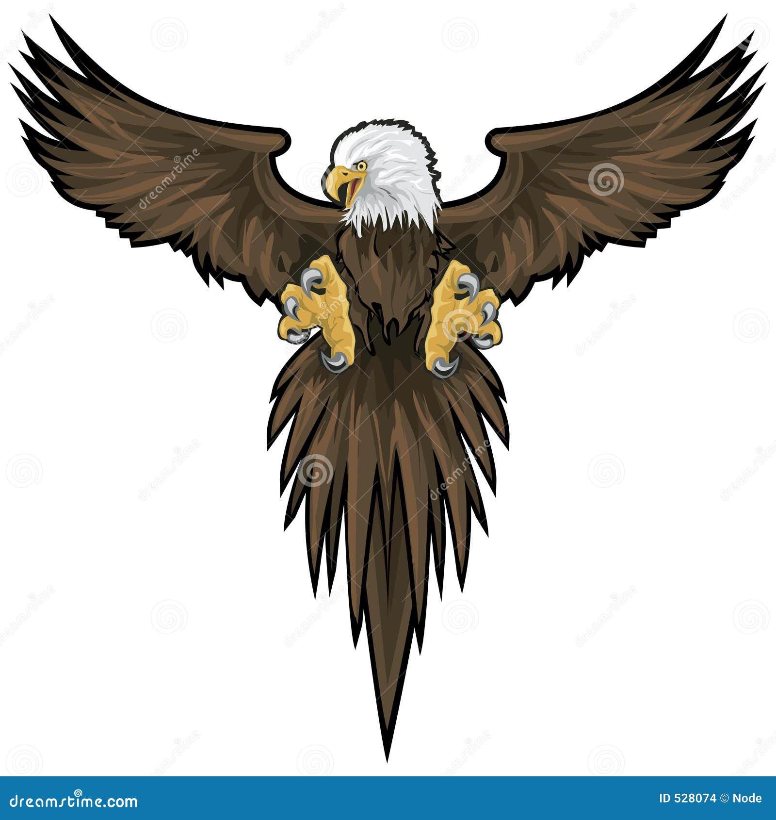 Aquila calva con il percorso di residuo della potatura meccanica