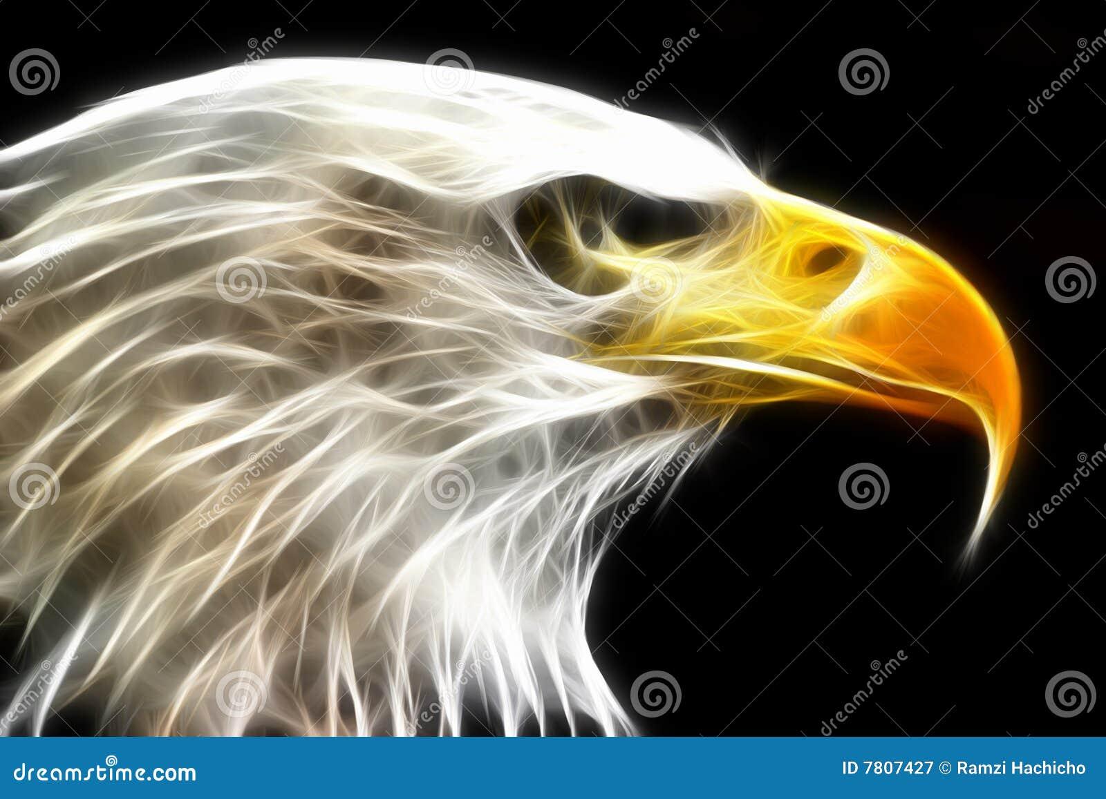 Aquila calva resa con i raggi luminosi elettrici