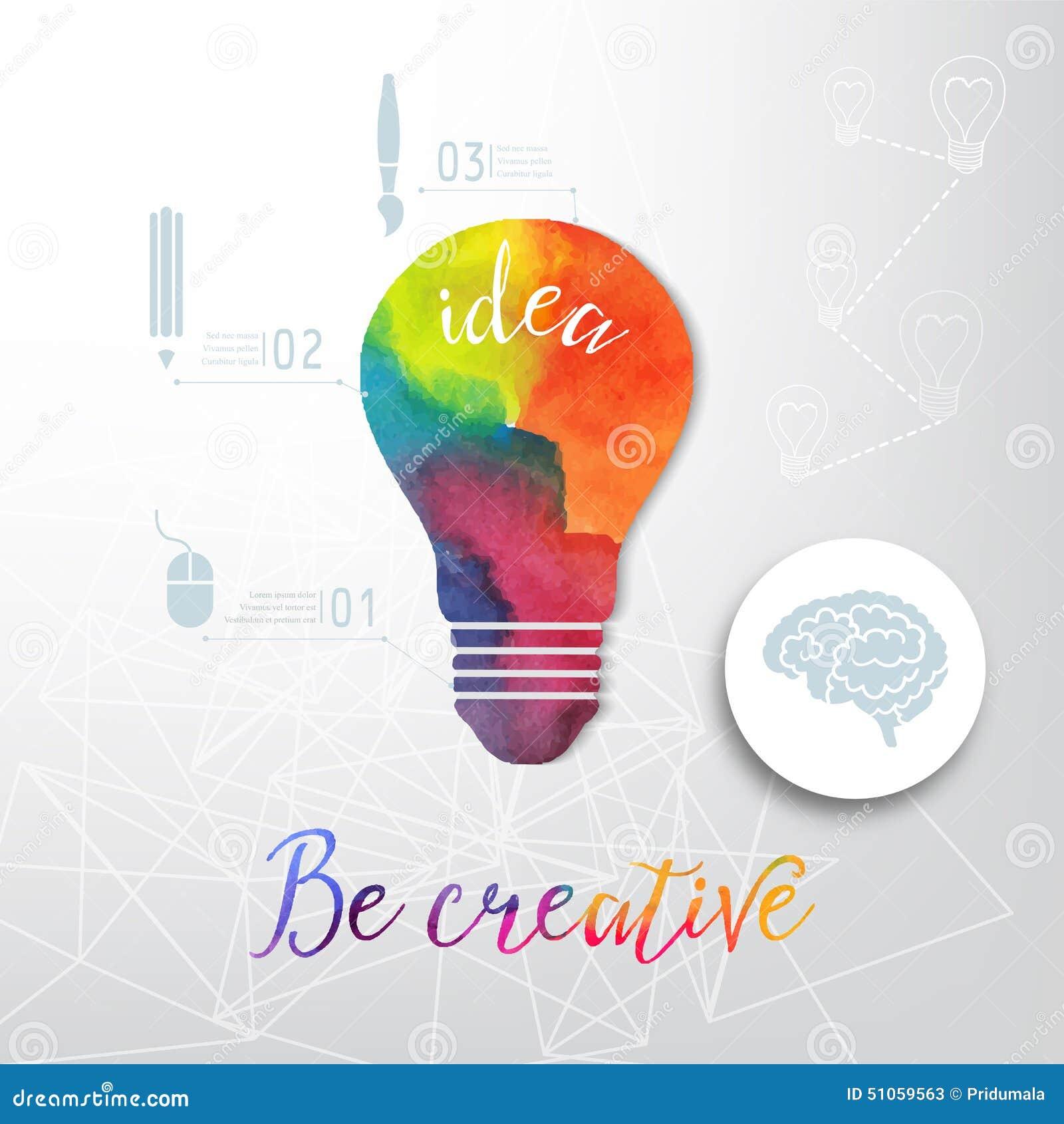 Żarówka robić akwarela, lightbulb i kreatywnie ikony, akwareli kreatywnie pojęcie Wektorowy pojęcie - twórczość i pomysł Le