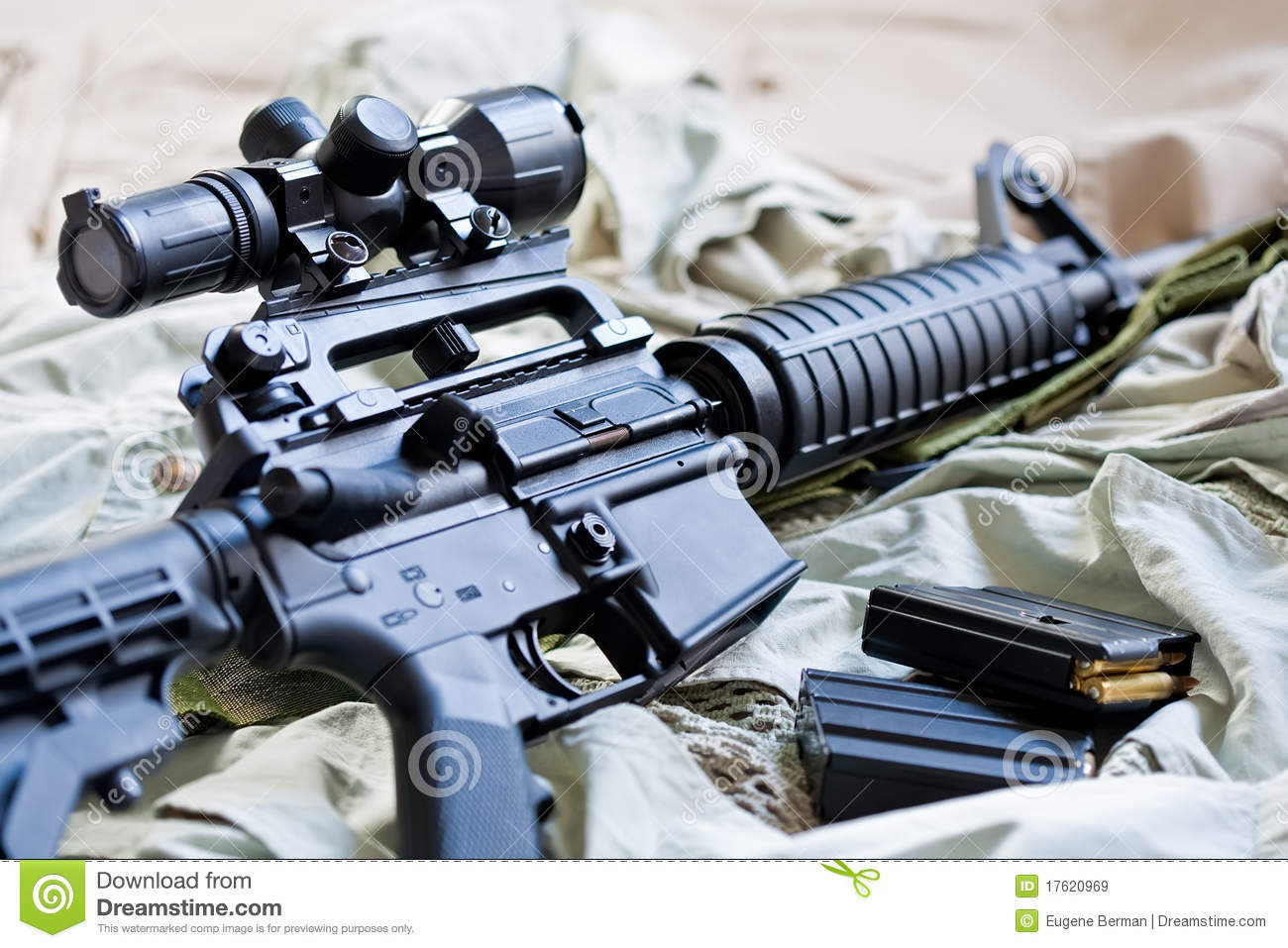 AR-15 rifle and magazines