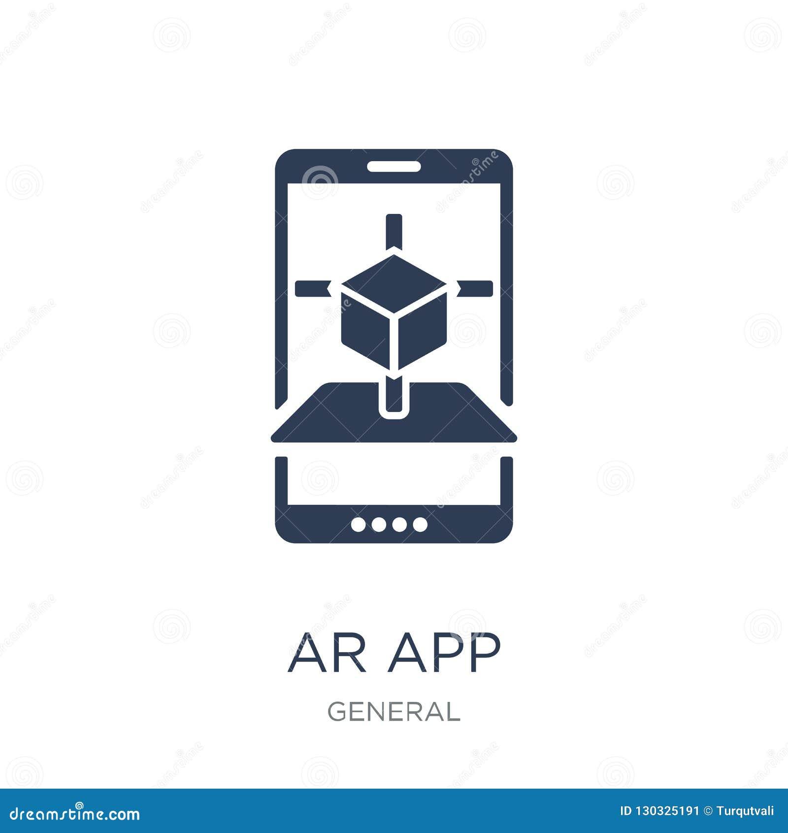 Ar app ikona Modna płaska wektoru ar app ikona na białym tle