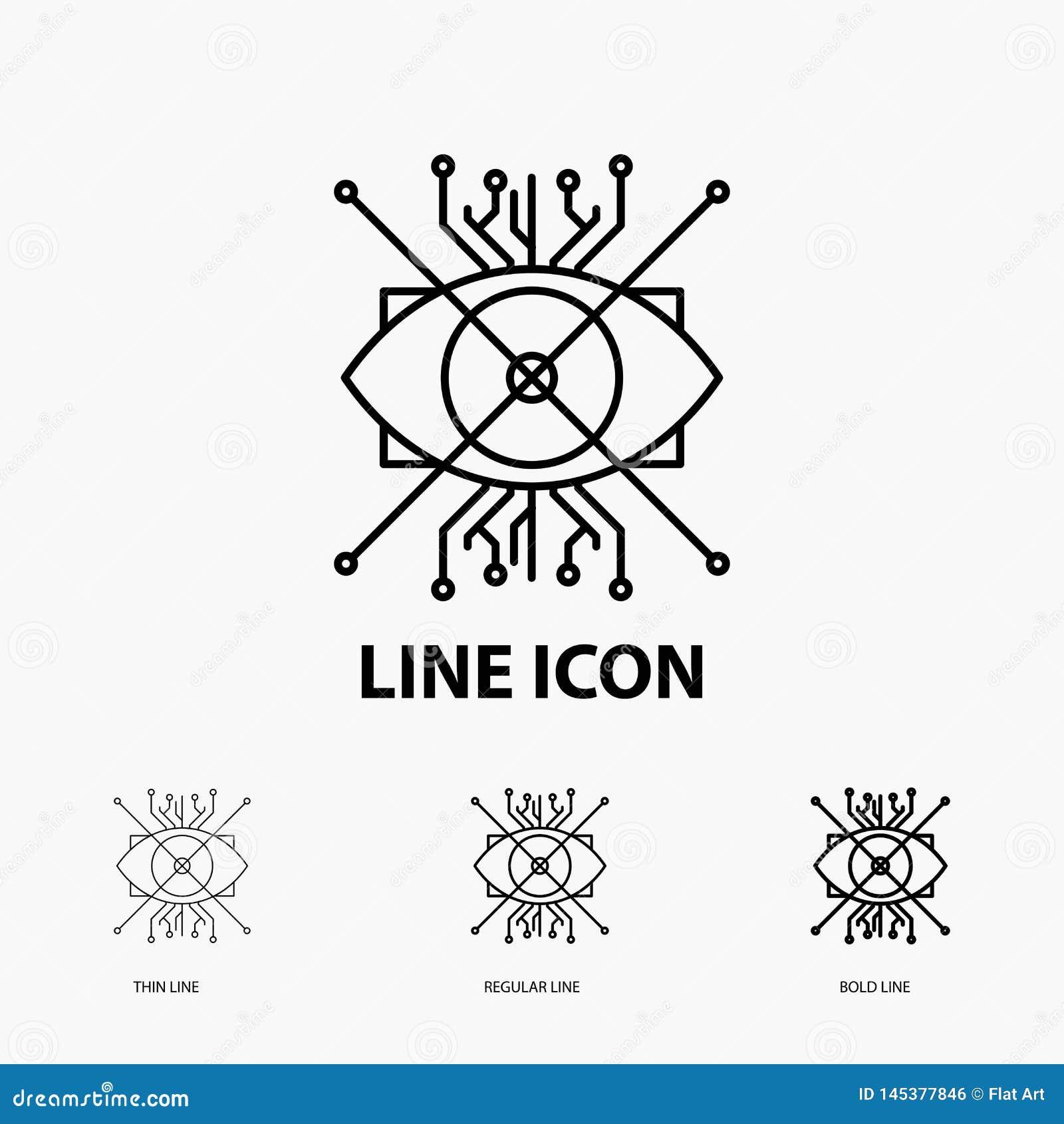 Ar, augmentacja, cyber, oko, obiektyw ikona w Cienkim, Miarowym i Śmiałym Kreskowym stylu, r?wnie? zwr?ci? corel ilustracji wekto