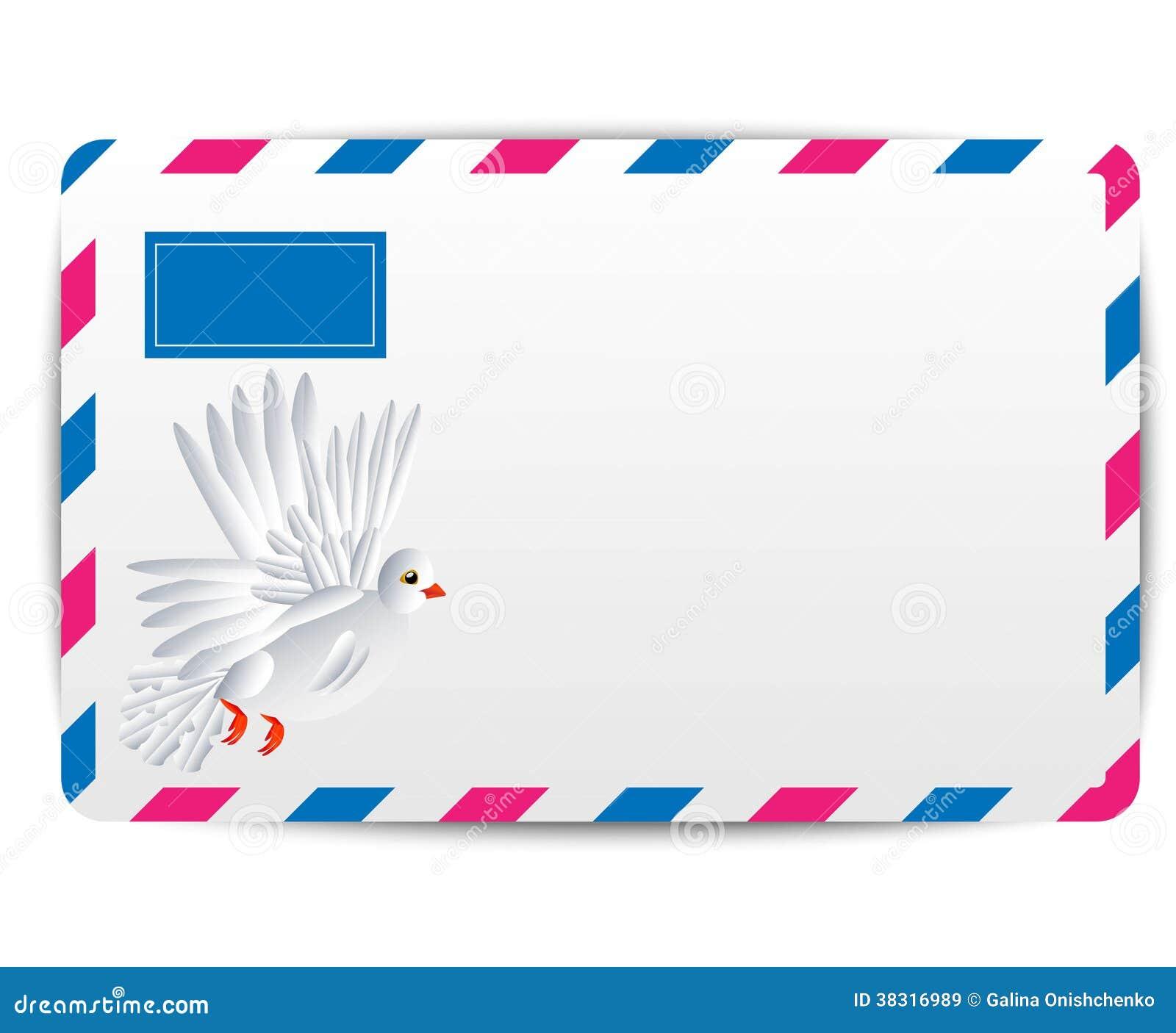 Ar do envelope com o pombo branco tirado