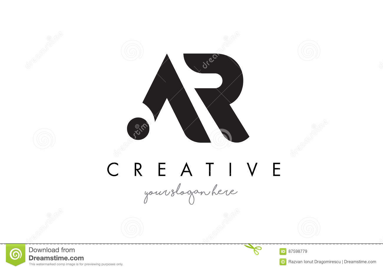 AR Letter Logo Design With Creative Modern Trendy Typography