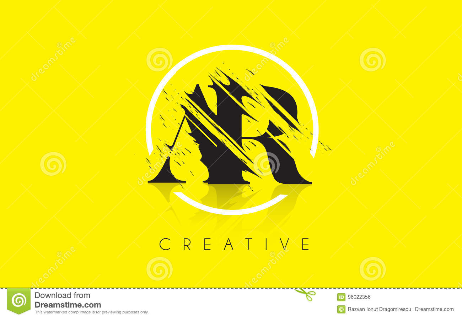 AR listu logo z rocznika Grundge rysunku projektem Zniszczony Cu