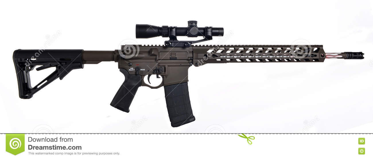 AR15 / M16 With Scope, Extended Collapsible Stock, 18