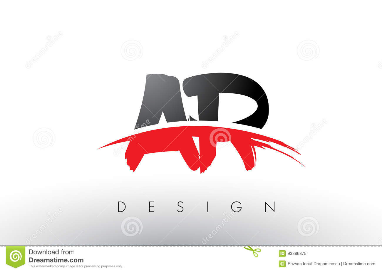 Ar A R Brush Logo Letters With Red And Black Swoosh Brush Front