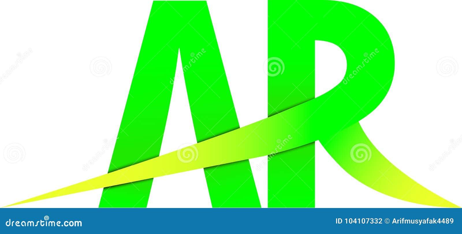 AR A R Logo Green Yellow Design Stock Illustration - Illustration of ...