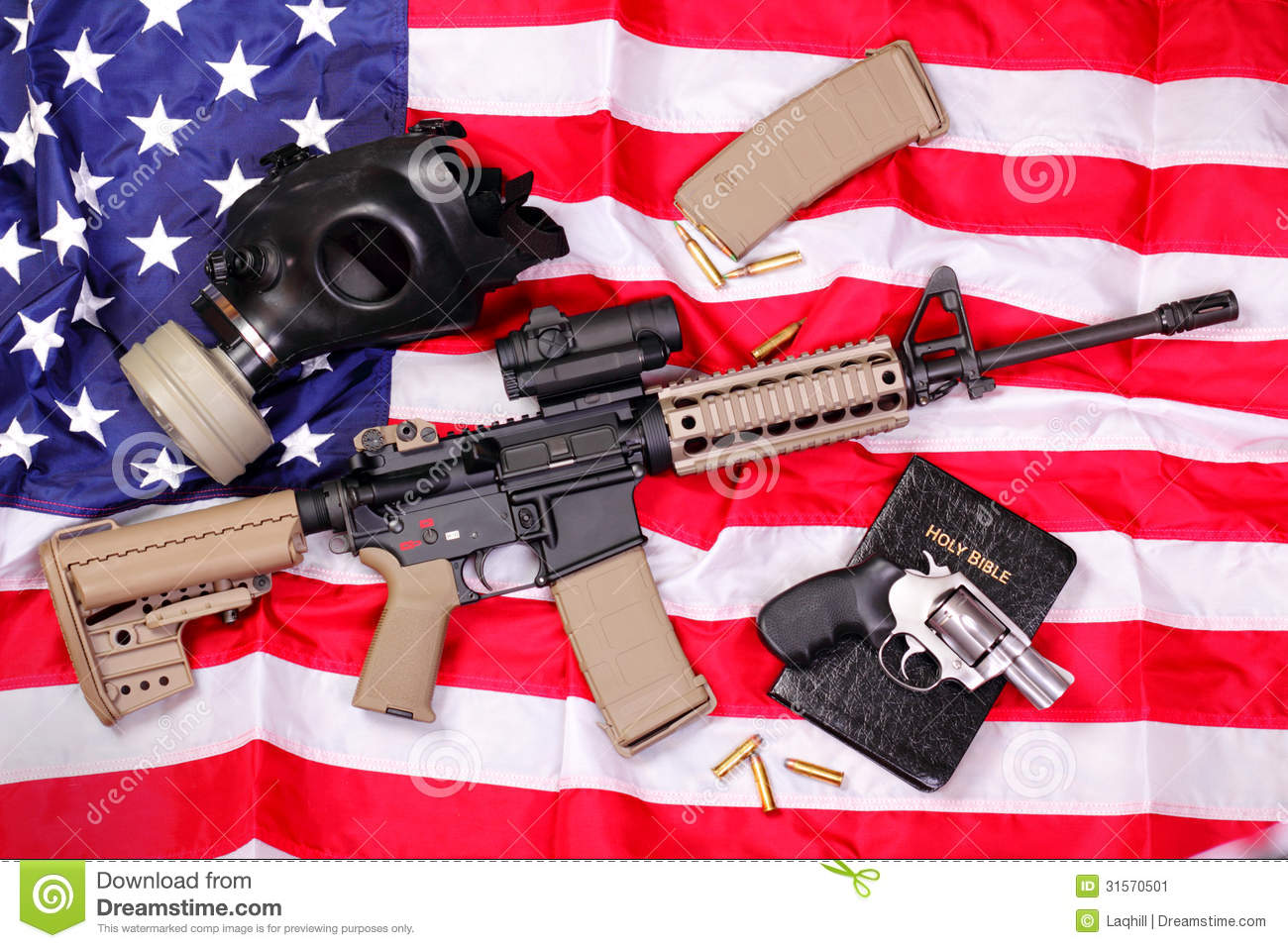 AR Rifle, a Bible, a Gas Mask & a Pistol on Americ