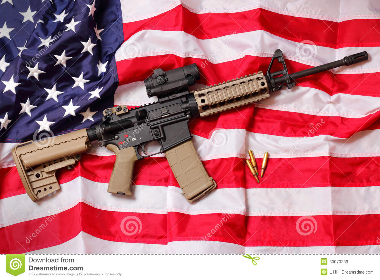 AR Rifle on American Flag