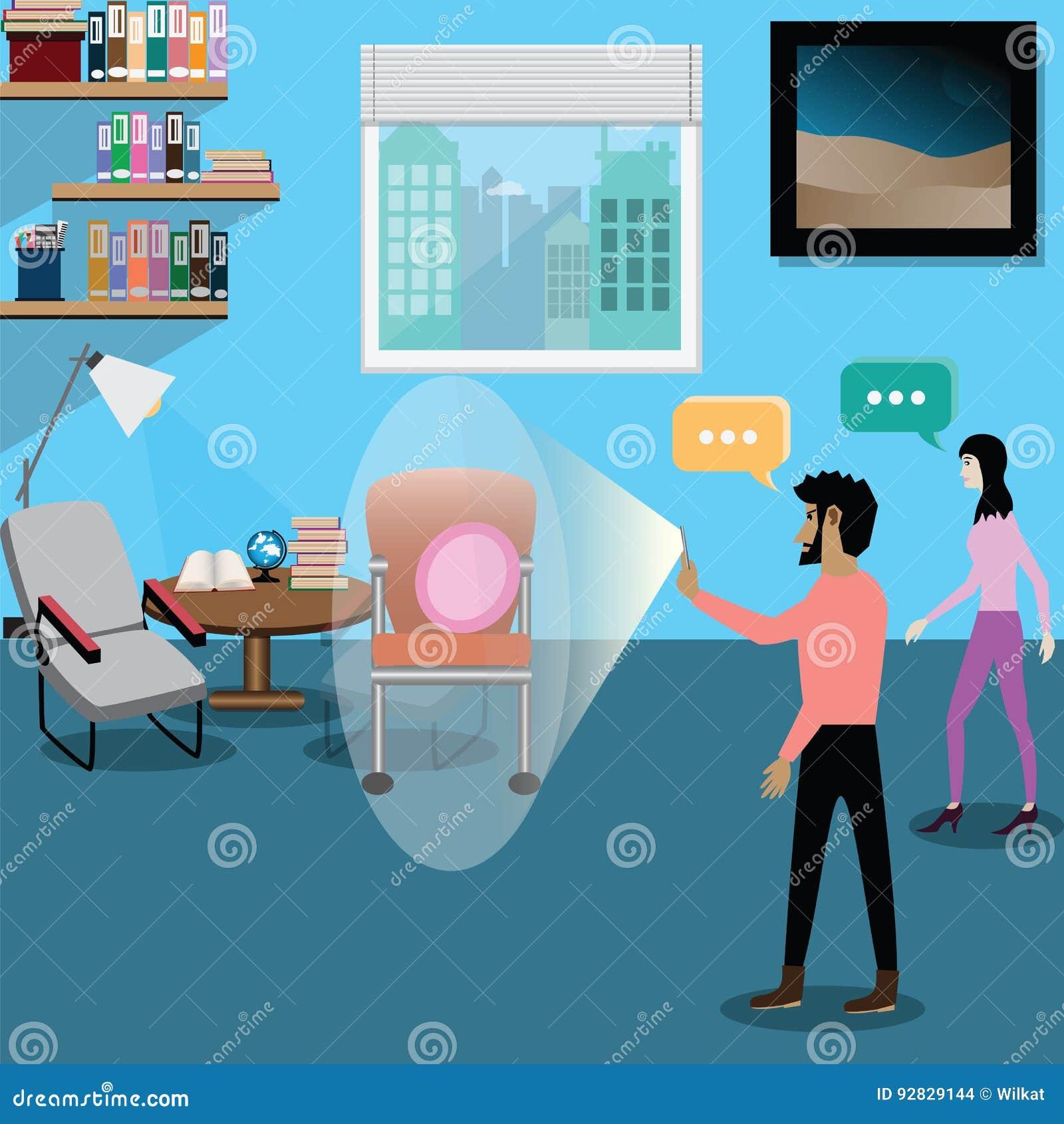 AR Technology Concept,Interior Designer Use AR Technology Create