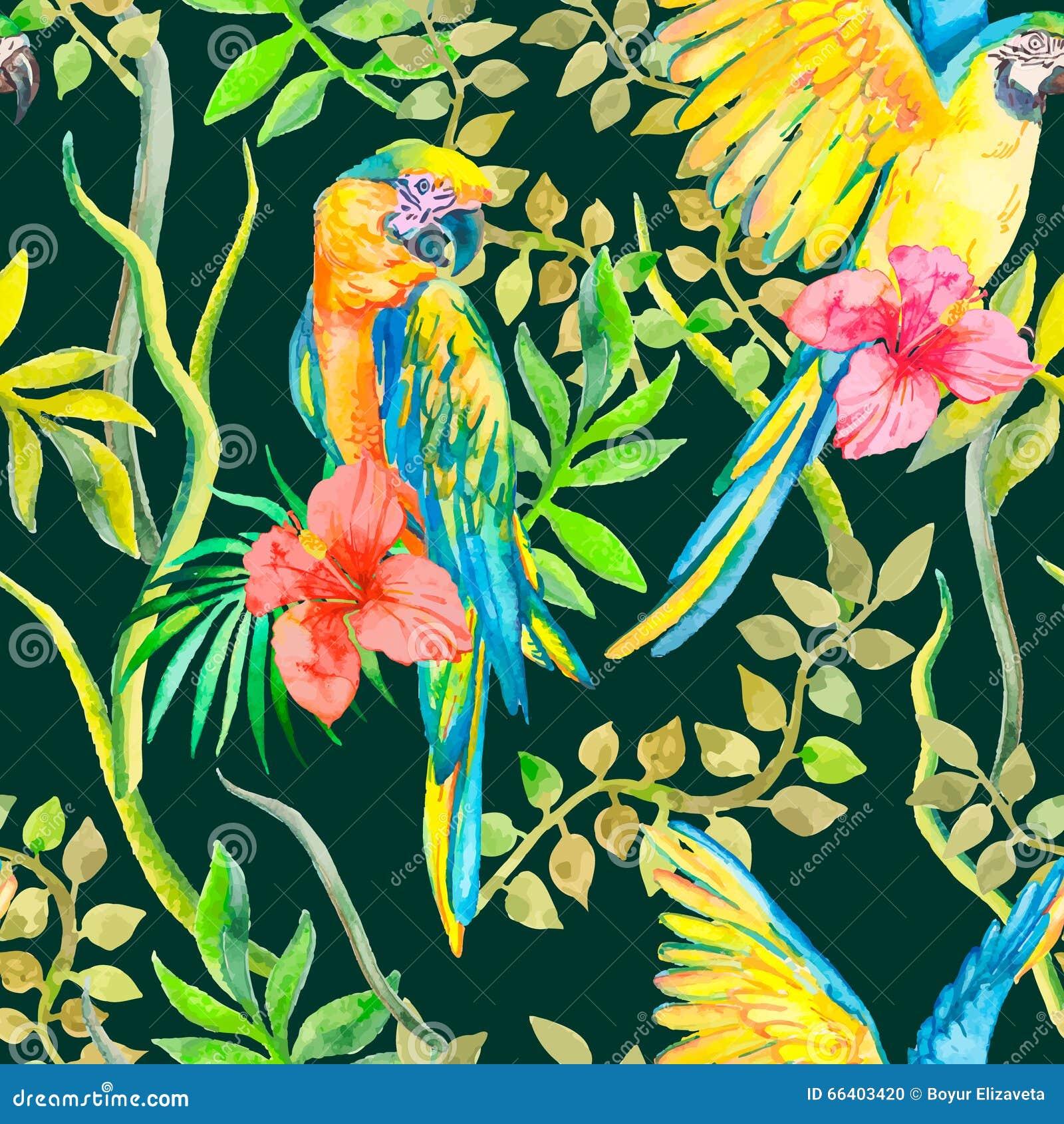 Ara naadloos patroon Actuele bloem en bladeren, hibiscus Tropische Papegaai exotisch Vector voor uw ontwerp