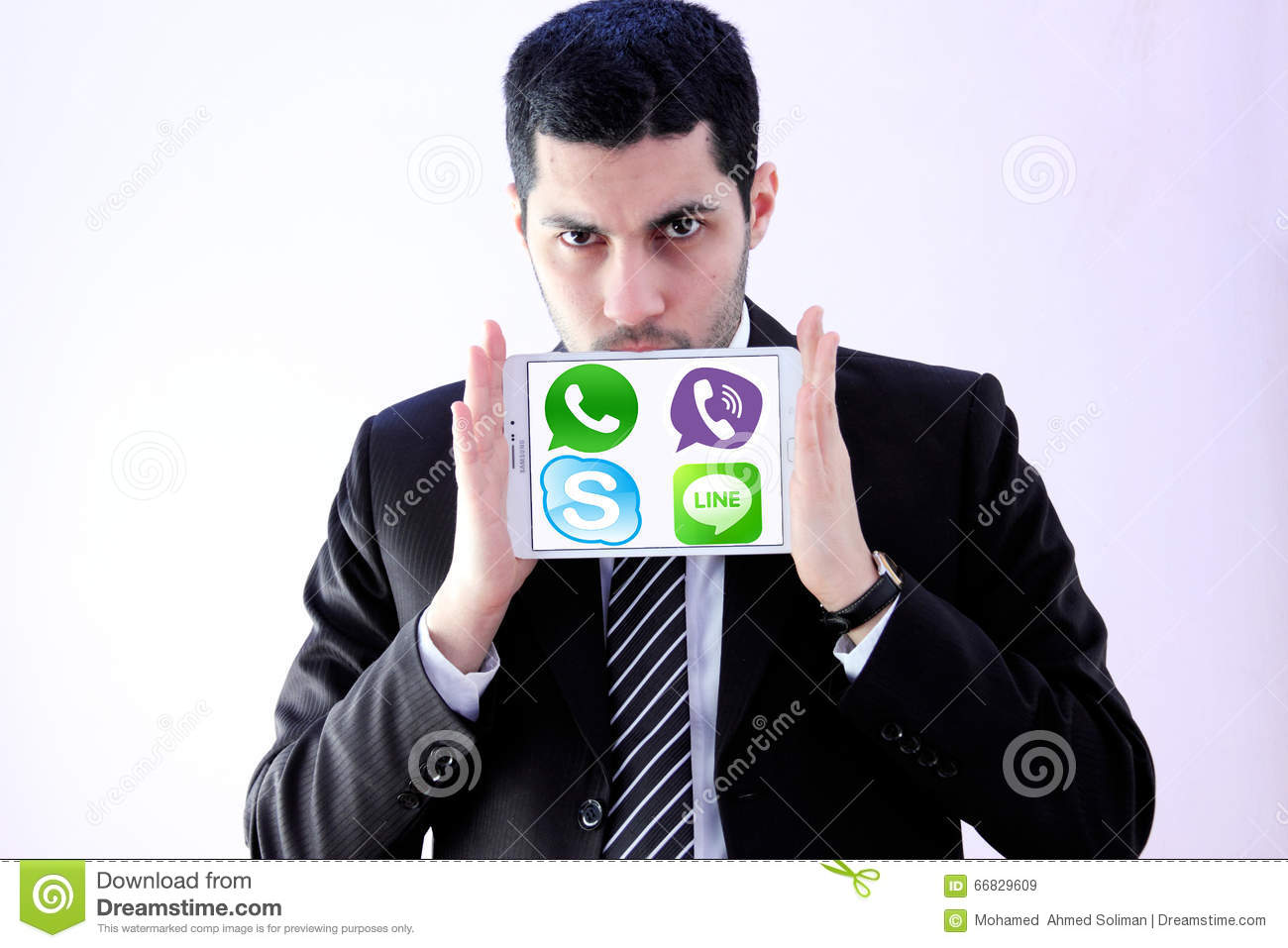 Arab business man with messenger applications logos