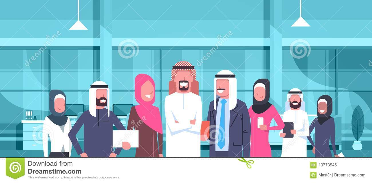 Arab Businessman Boss With Team Of Arabic Business People In Modern Office Wearing Traditional Clothes Arab Employees
