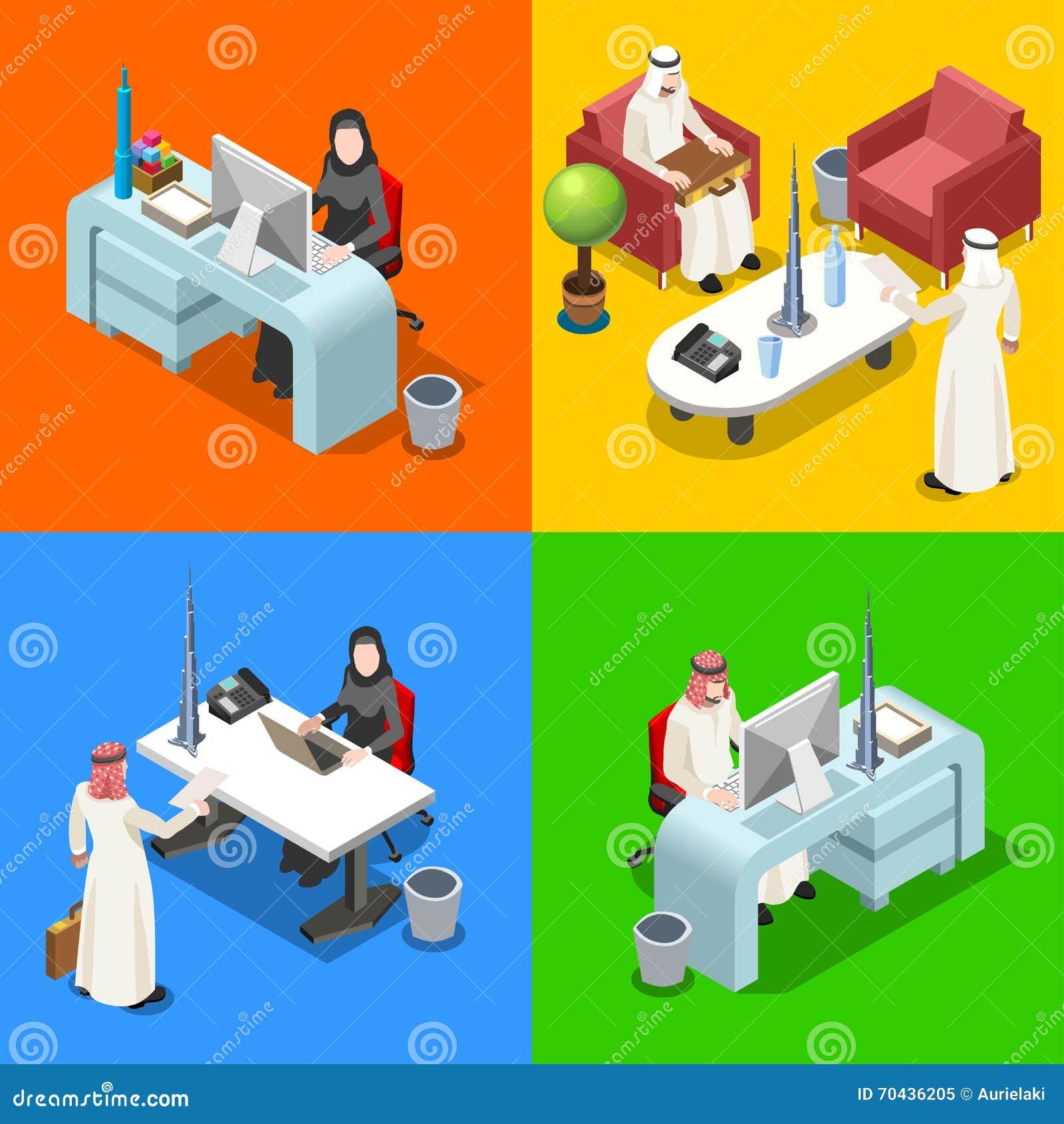 Arab Businessman Isometric People Stock Vector