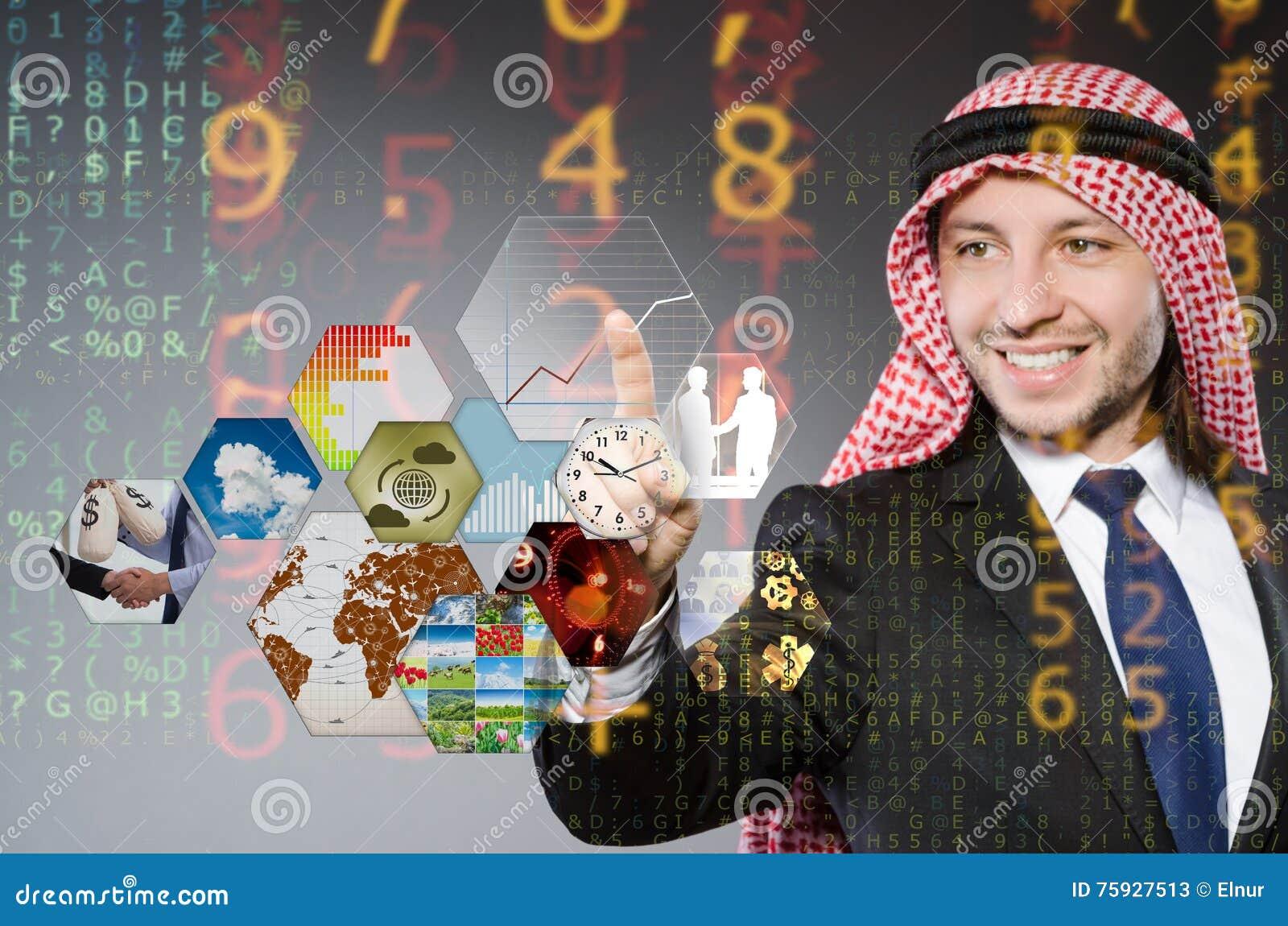 The arab businessman pressing virtual buttons