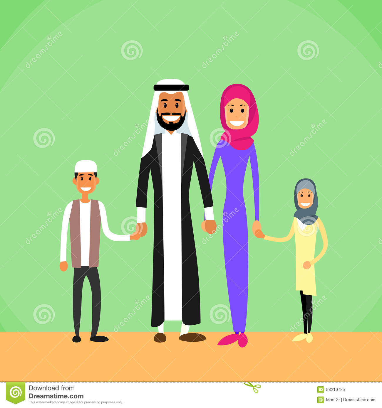 arab family four people arabic parents two stock vector