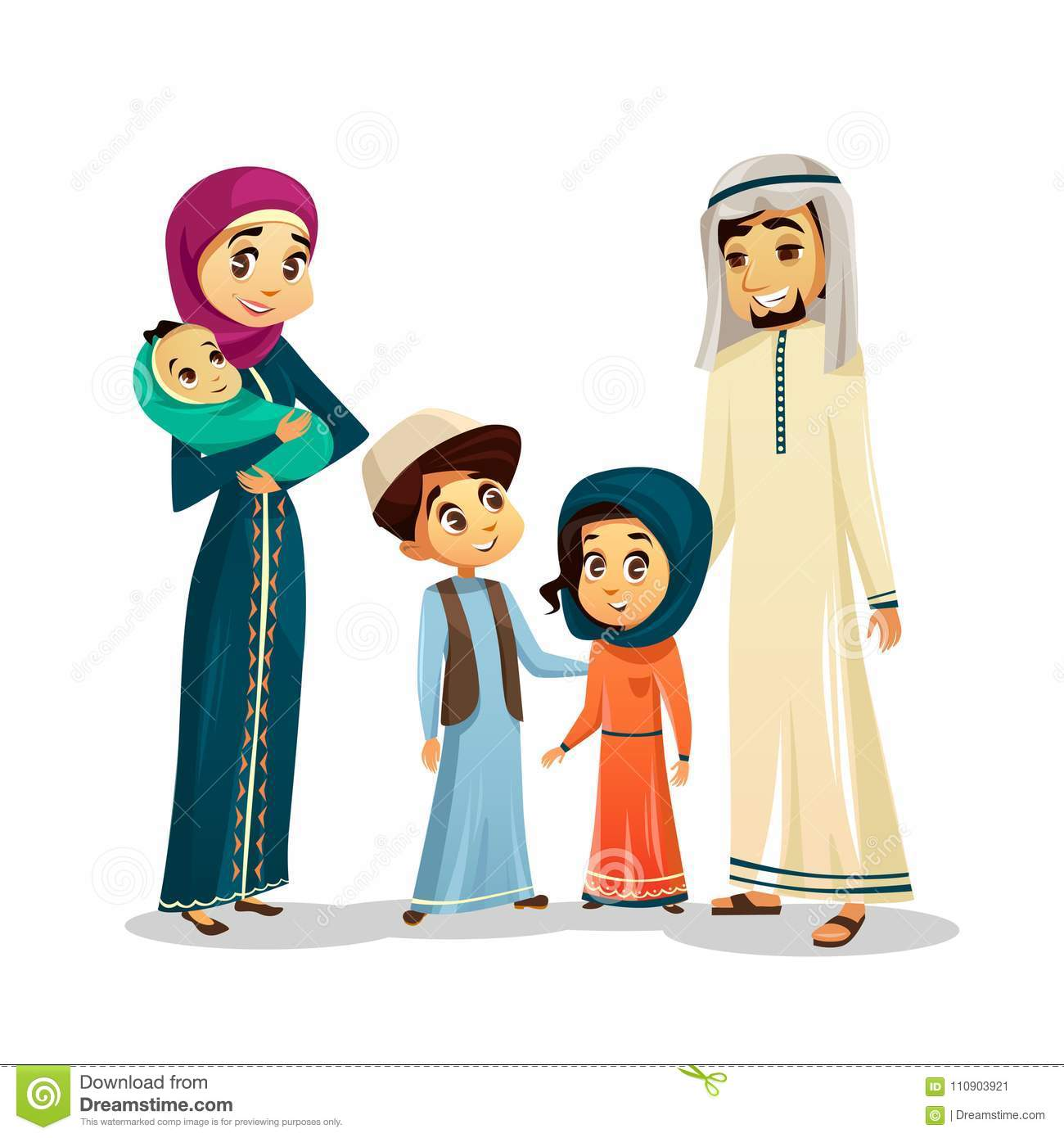 Arab Family In Traditional Clothing Vector Illustration Of Muslim Parents And Children In Arabian Clothes Stock Vector Illustration Of Beard Baby 110903921