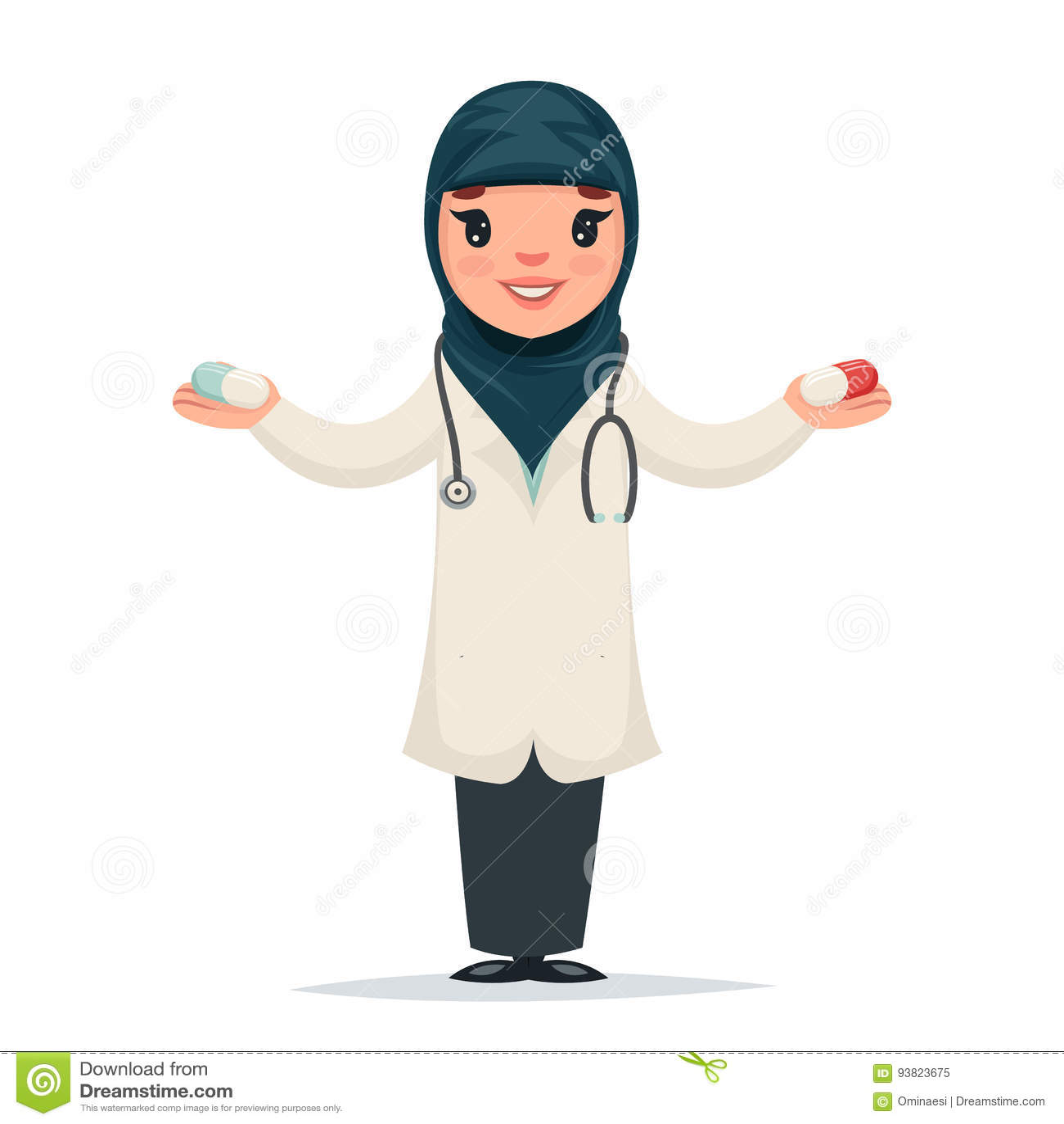 A Cute Muslim Girl Cartoon Illustration Vector ...