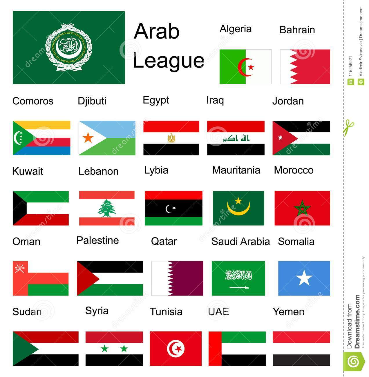 Picture of: Arab League Arab Member Countries Flags Stock Illustration Illustration Of Country Green 115256921
